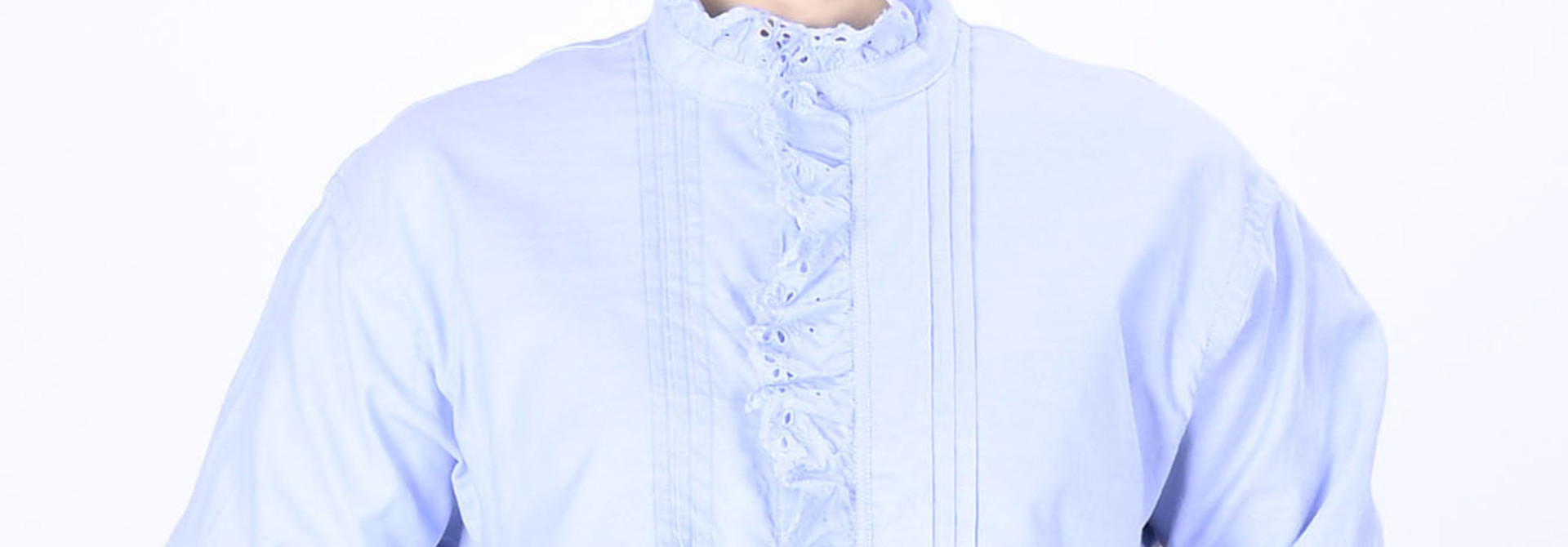 Blue Thin Oxford Frilled Blouse