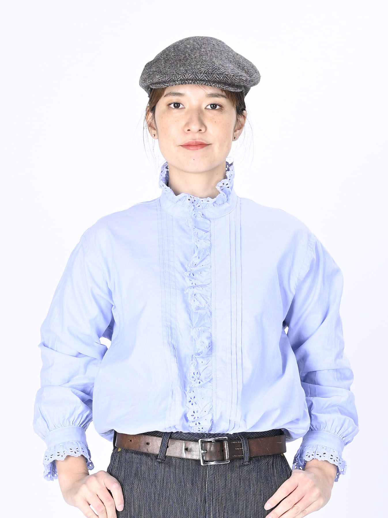Blue Thin Oxford Frilled Blouse-1