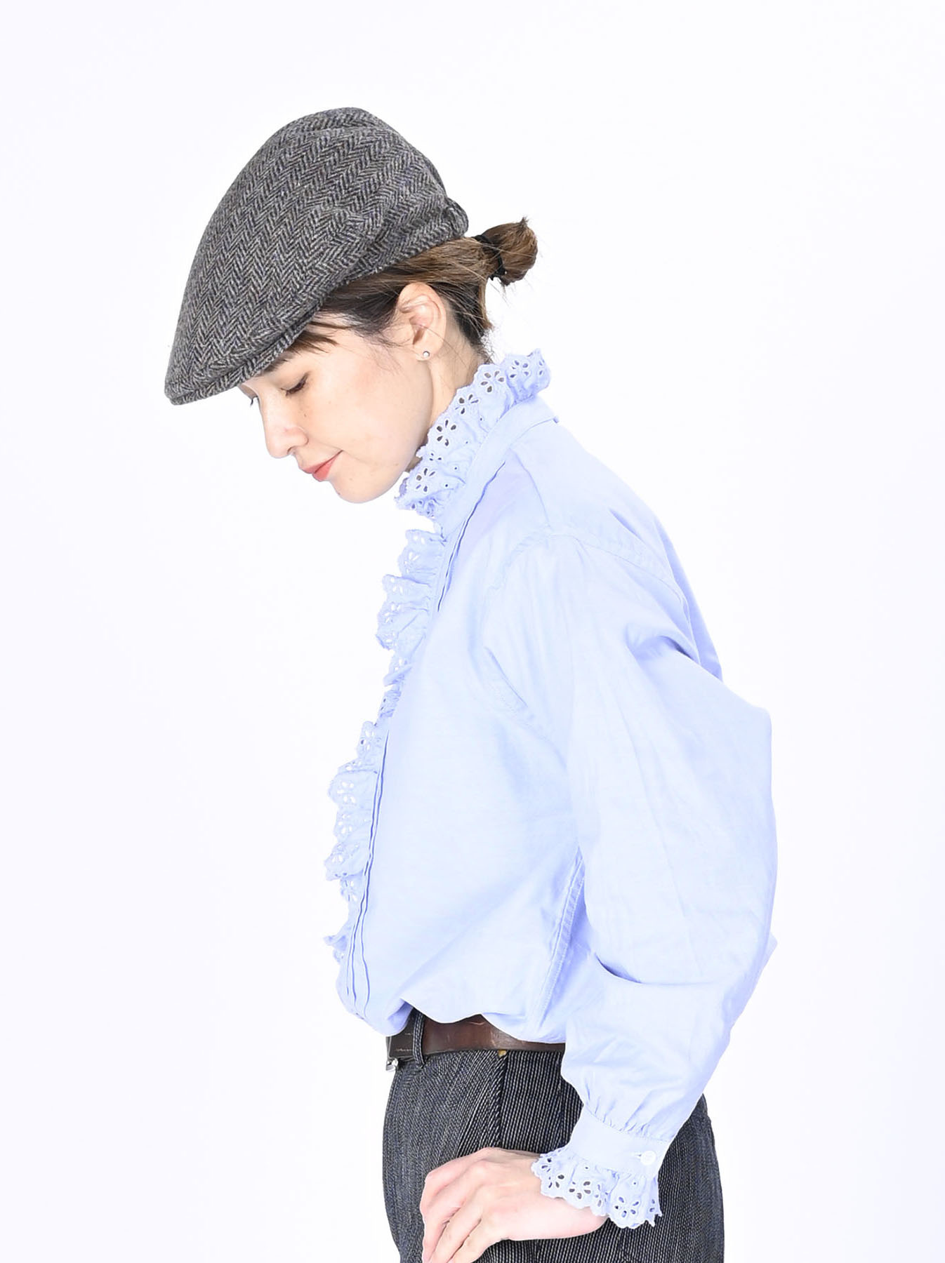 Blue Thin Oxford Frilled Blouse-4