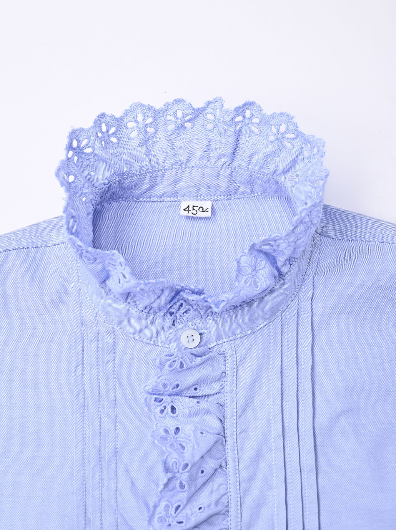 Blue Thin Oxford Frilled Blouse-7