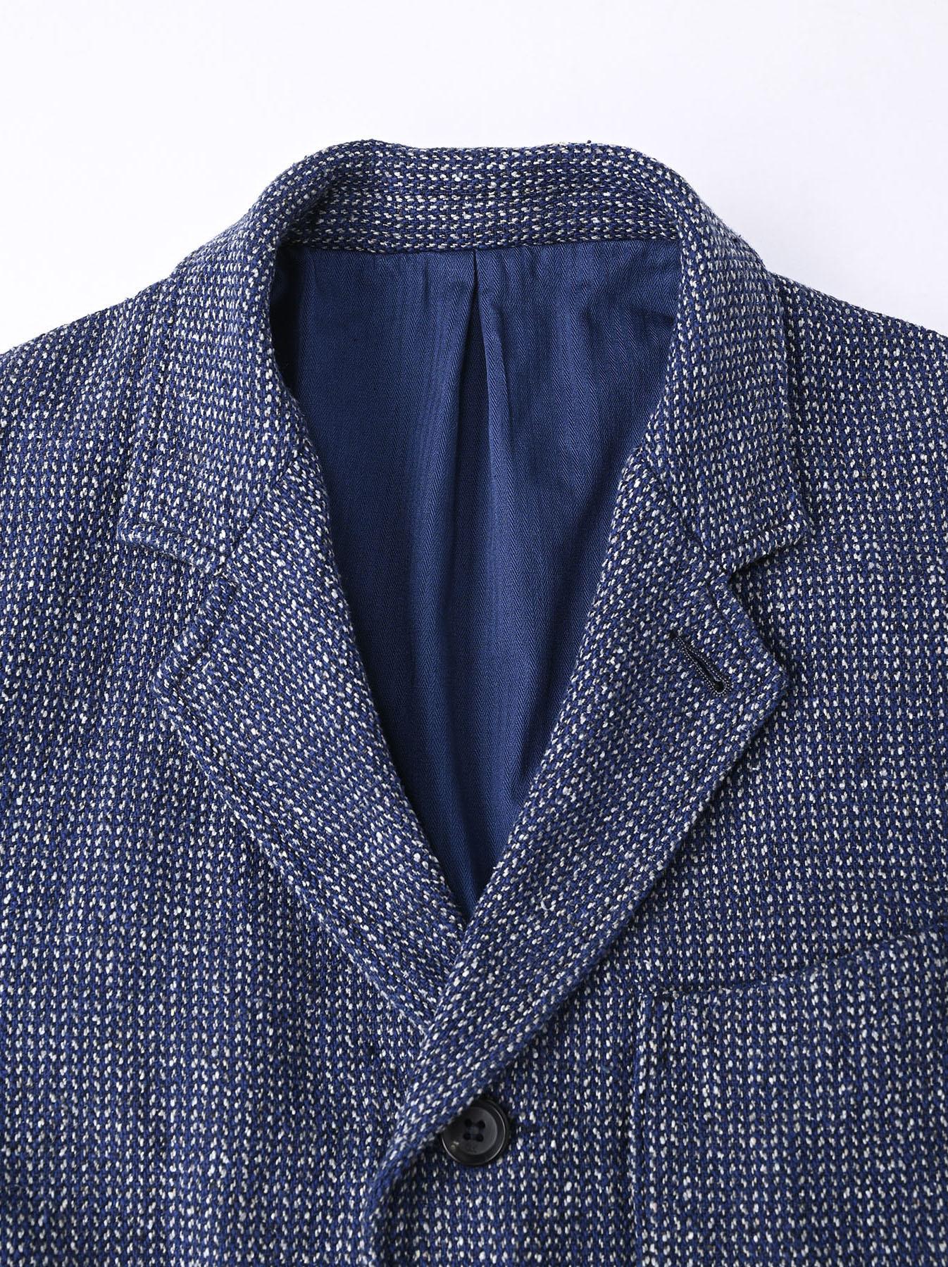 Homespun Indigo Cotton Tweed Asama Jacket-7
