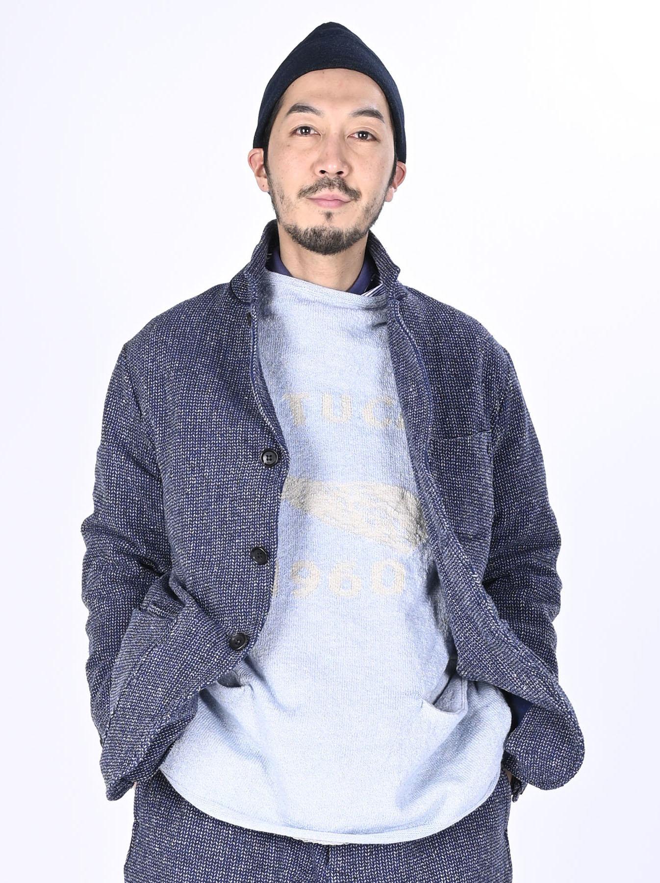 Homespun Indigo Cotton Tweed Asama Jacket-3