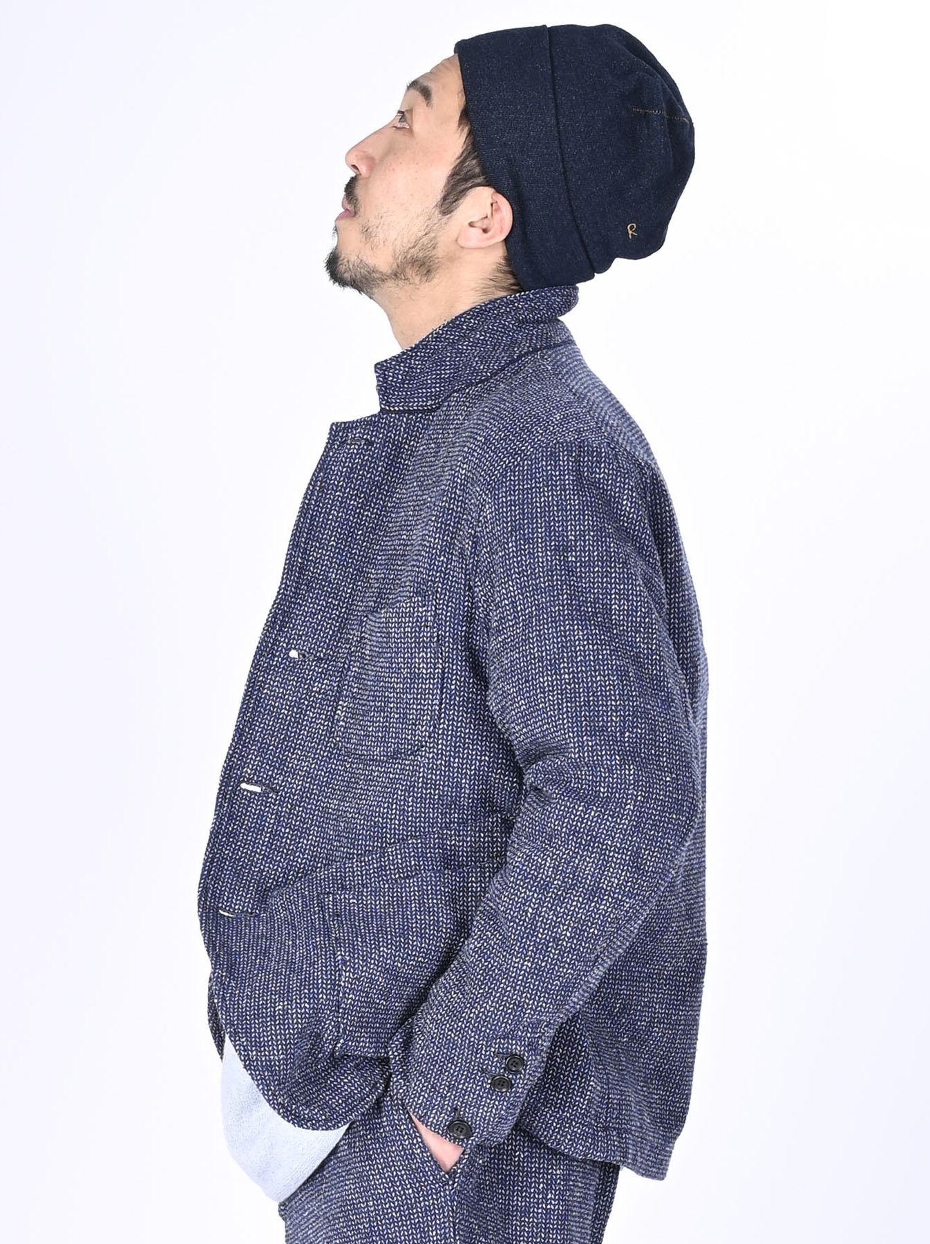 Homespun Indigo Cotton Tweed Asama Jacket-4