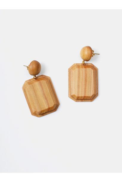 WH Sandalwood Octagon Earrings