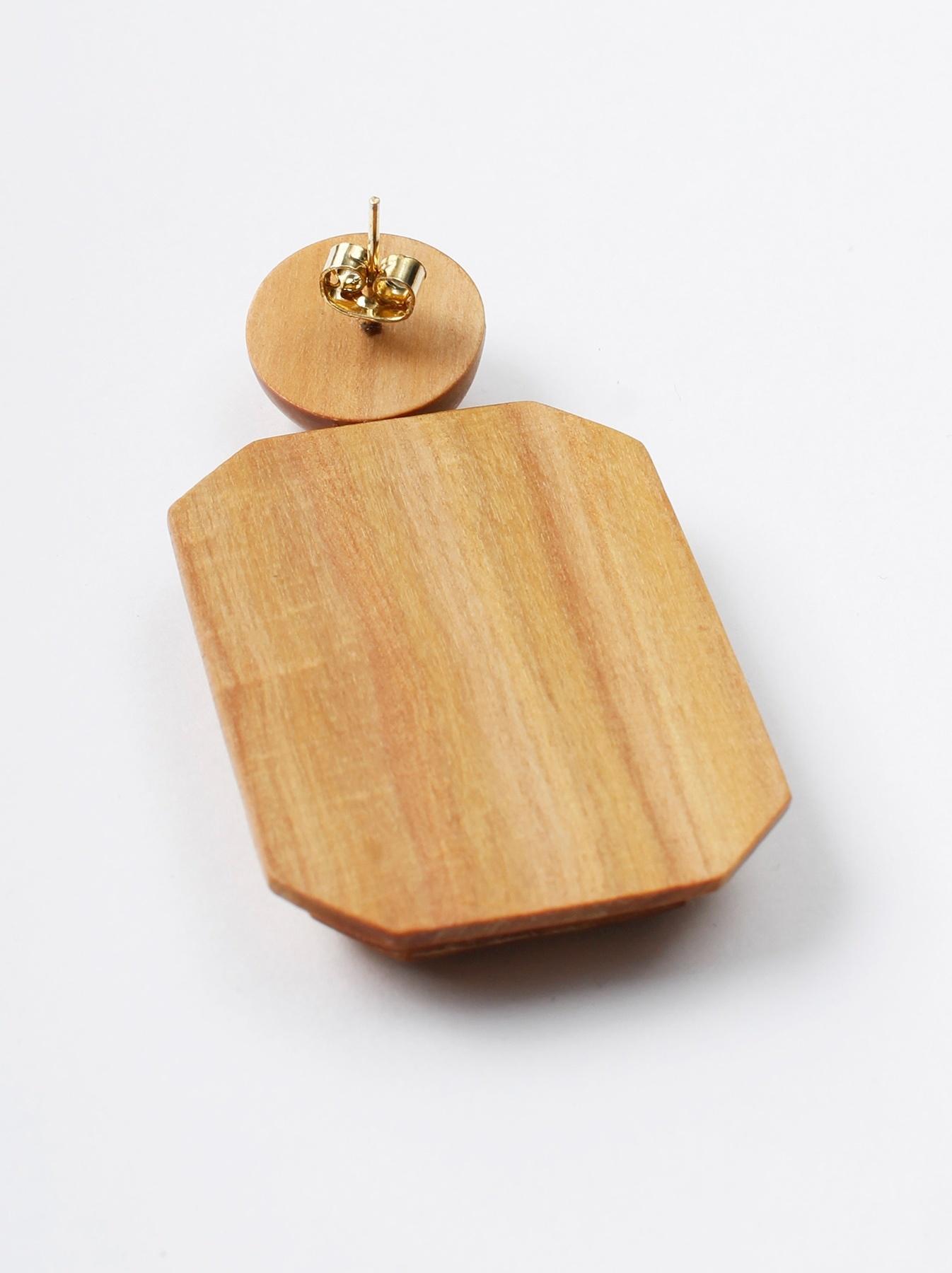 WH Sandalwood Octagon Earrings-3
