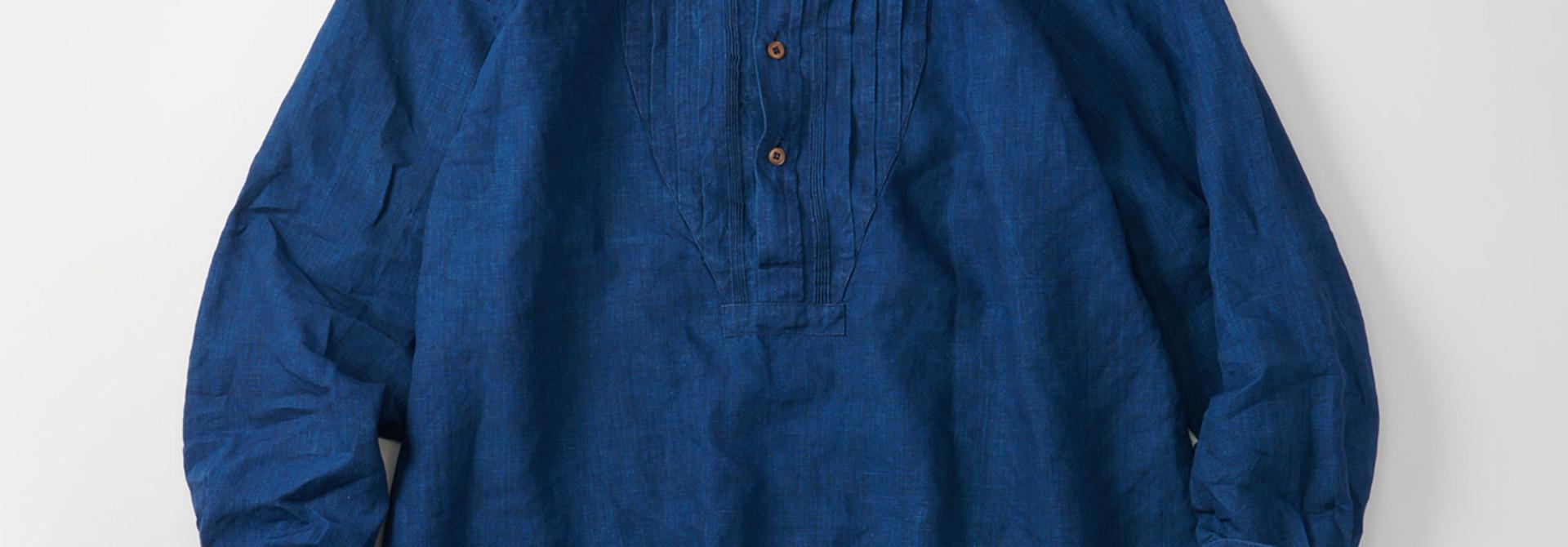WH Indigo Linen Pin-tuck 908 Shirt