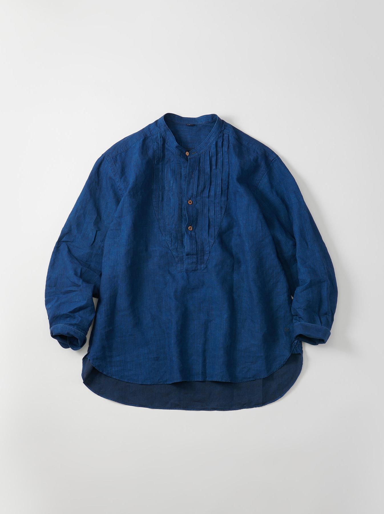 WH Indigo Linen Pin-tuck 908 Shirt-1