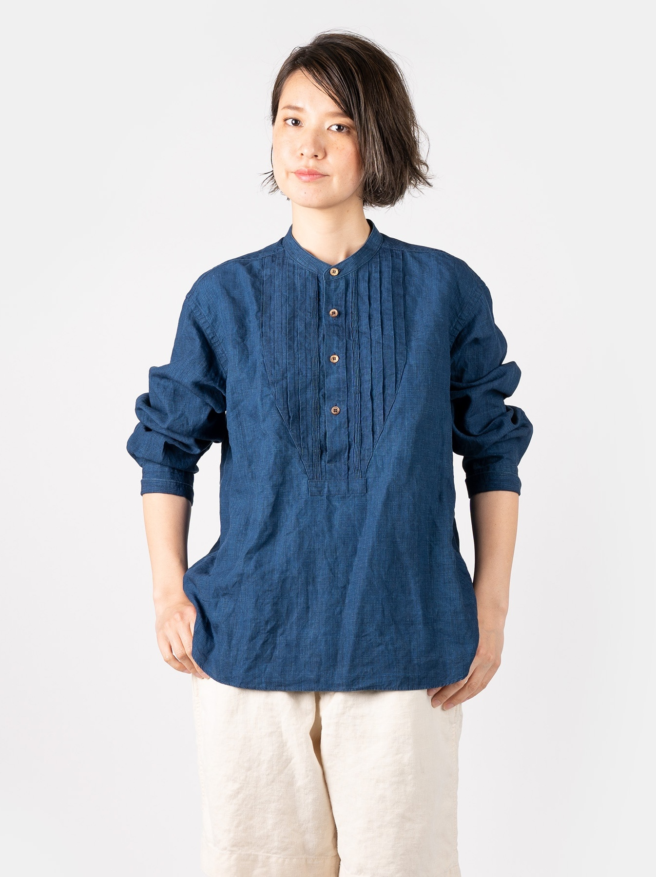 WH Indigo Linen Pin-tuck 908 Shirt-5