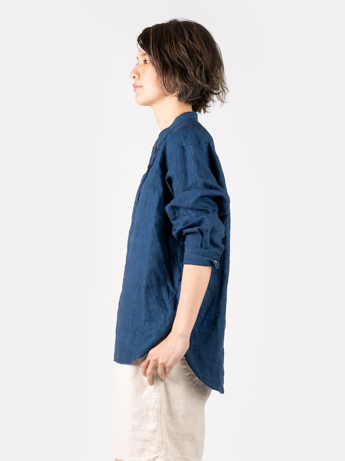WH Indigo Linen Pin-tuck 908 Shirt-6