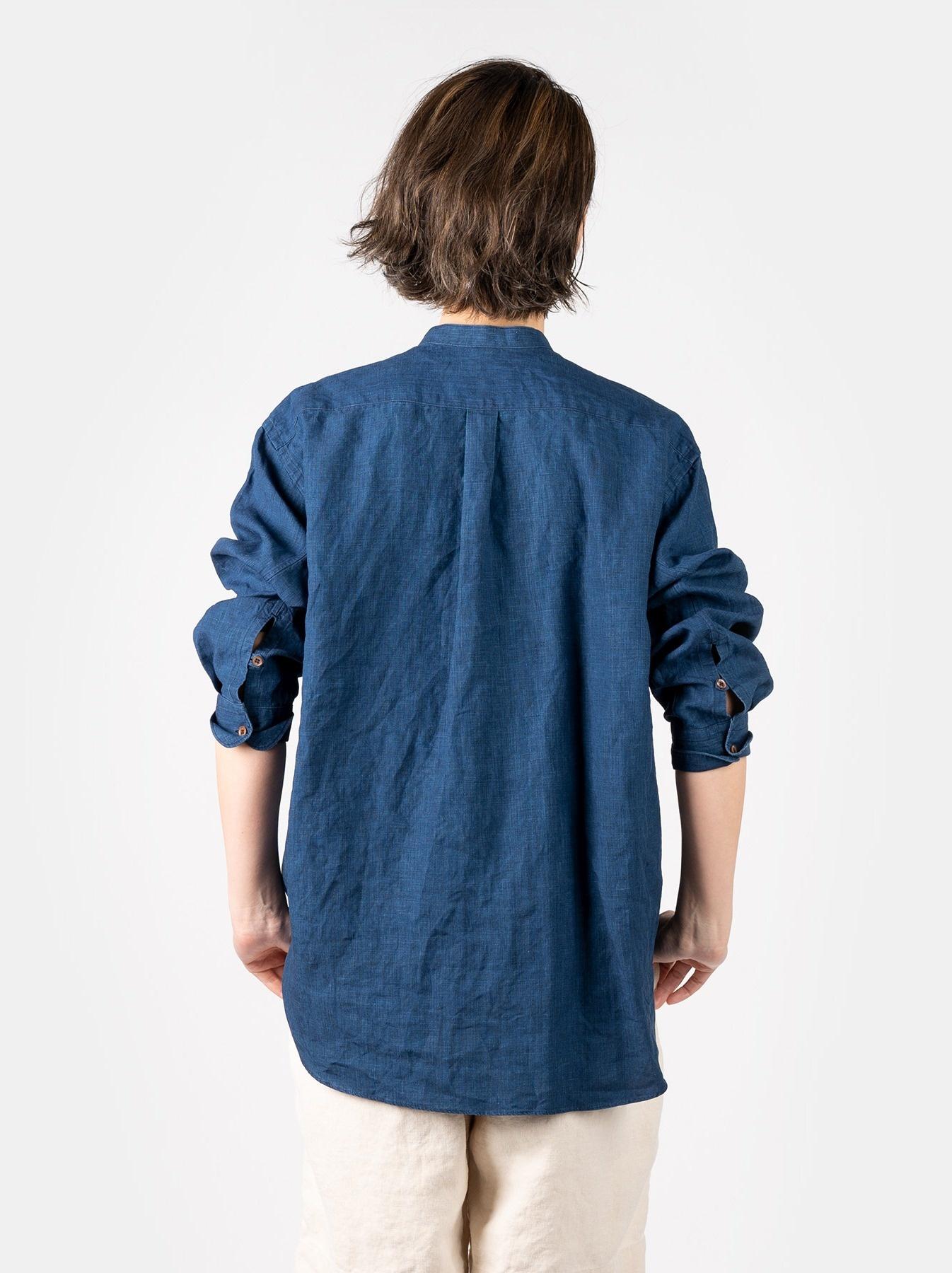 WH Indigo Linen Pin-tuck 908 Shirt-7