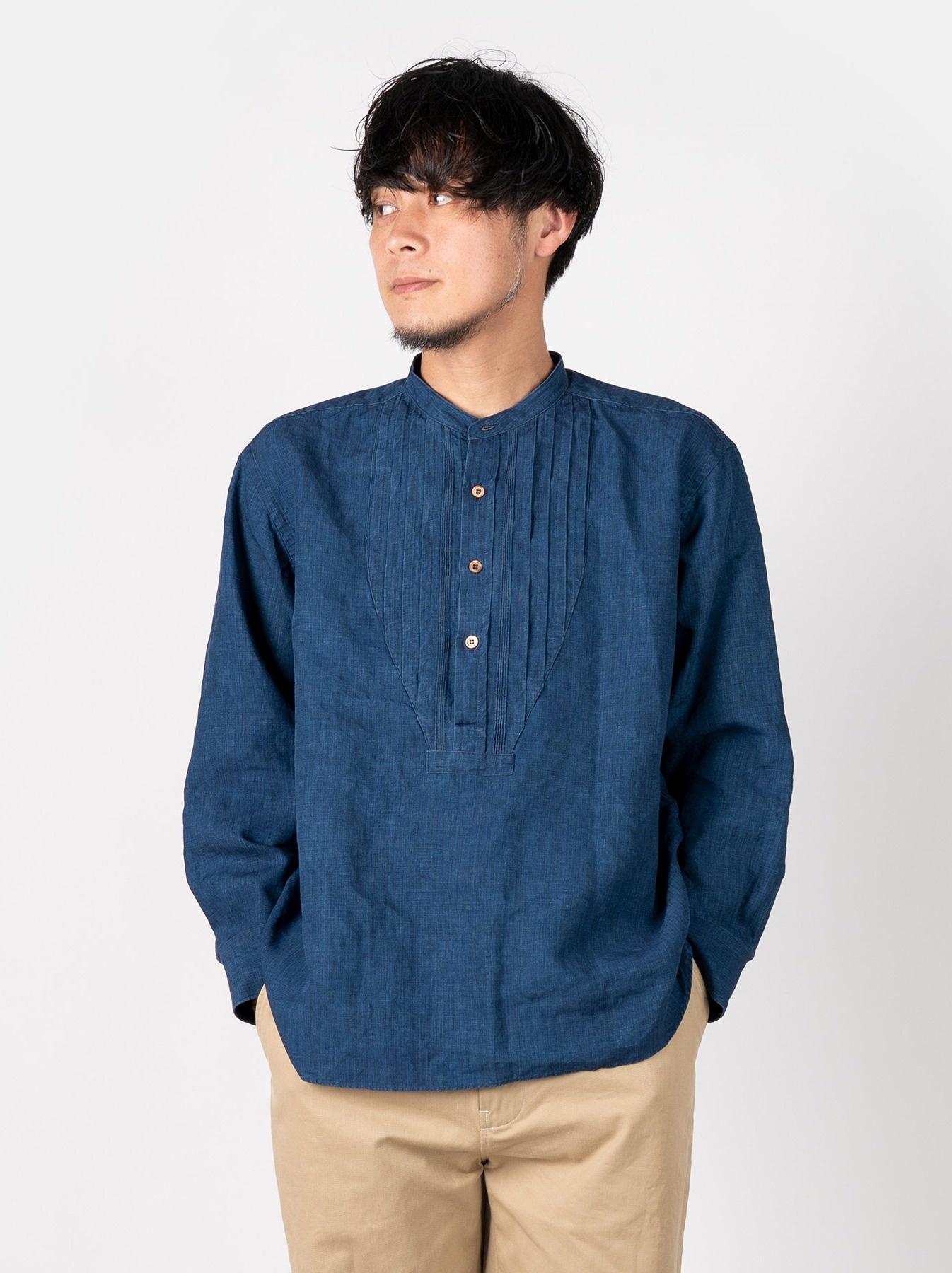 WH Indigo Linen Pin-tuck 908 Shirt-2