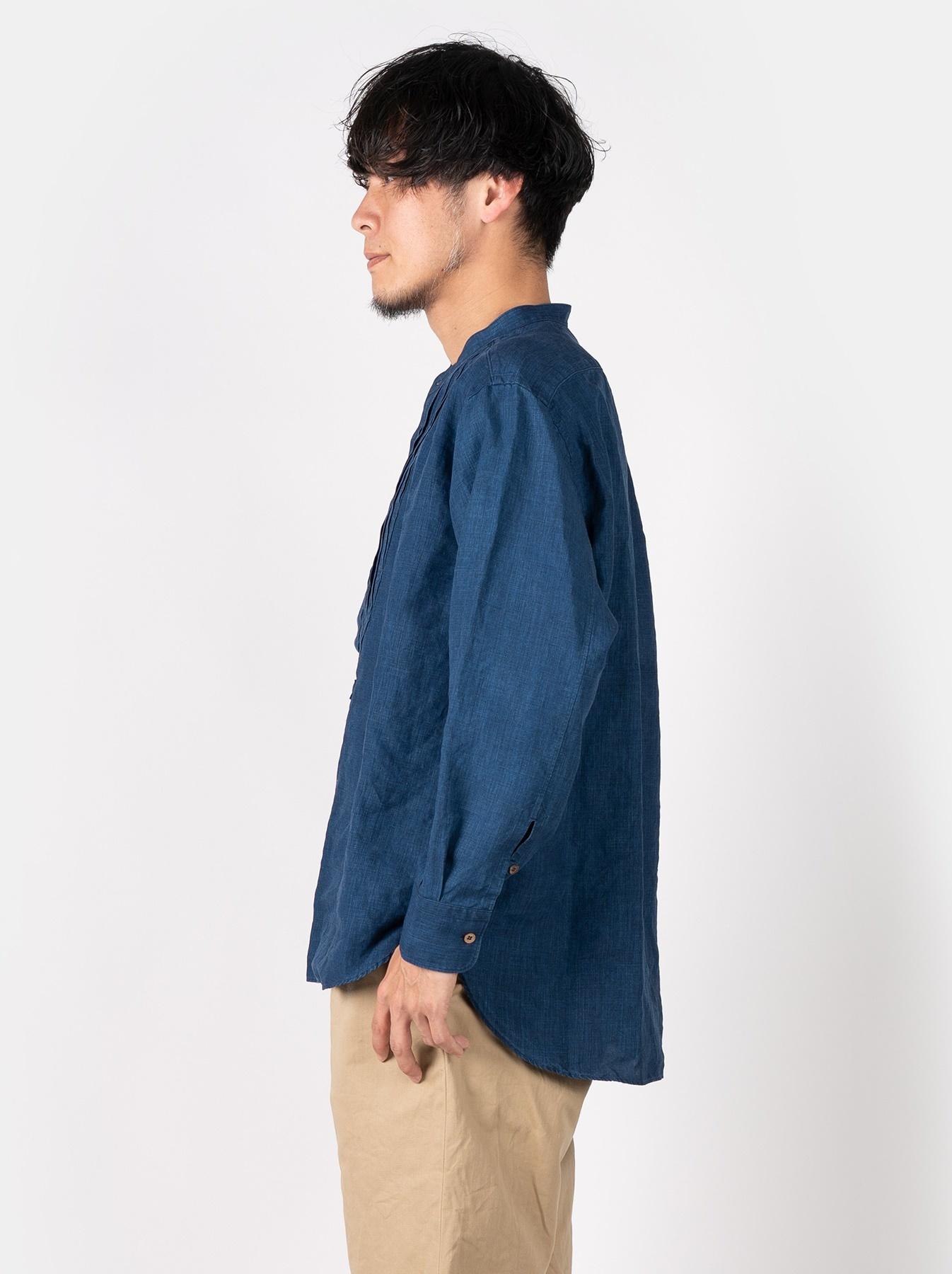 WH Indigo Linen Pin-tuck 908 Shirt-3