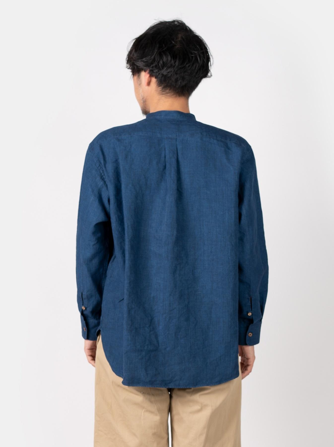 WH Indigo Linen Pin-tuck 908 Shirt-4