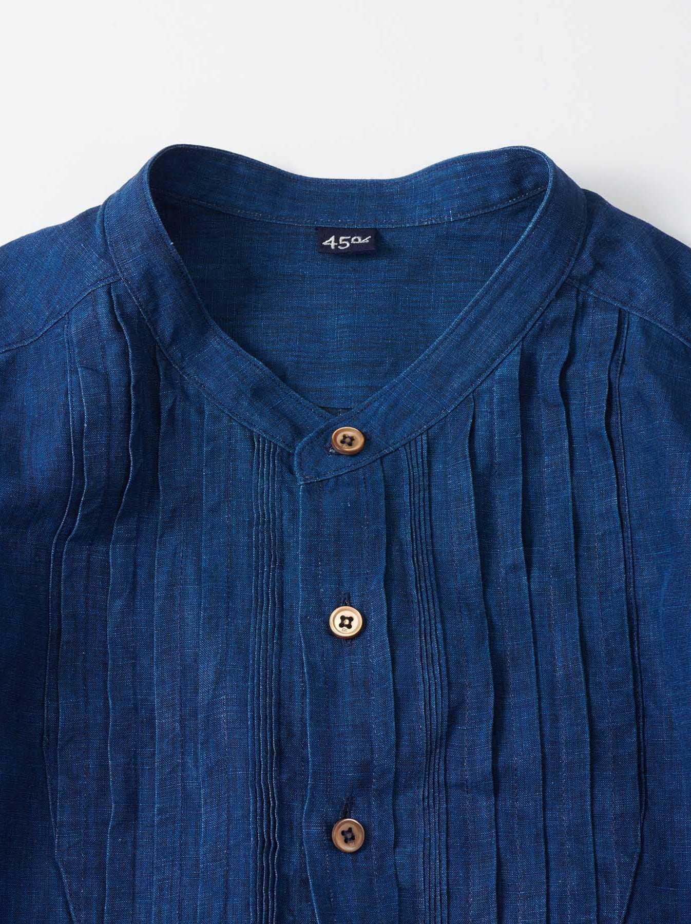 WH Indigo Linen Pin-tuck 908 Shirt-8