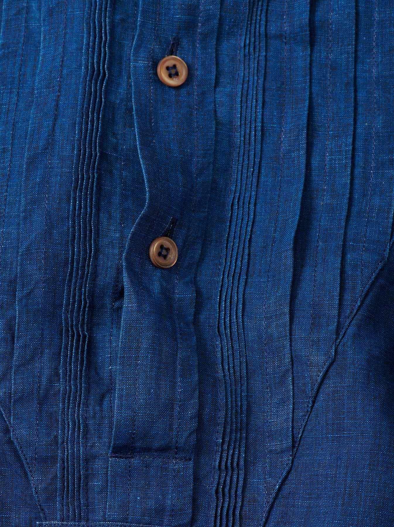 WH Indigo Linen Pin-tuck 908 Shirt-9