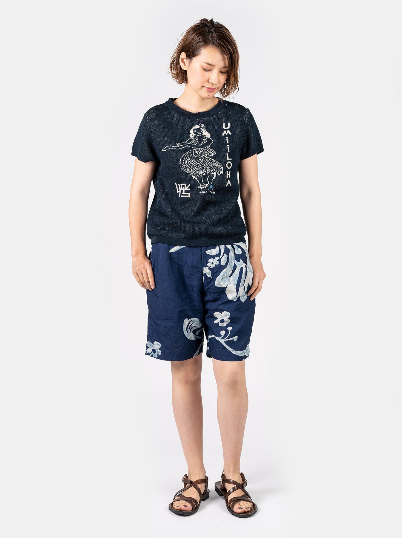 WH Indigo Linen Umiiloha 908 Short Pants-6