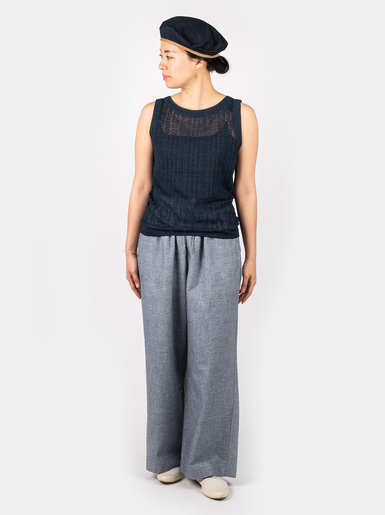 WH Indigo Gima Knit Lace Sleeveless Top-2