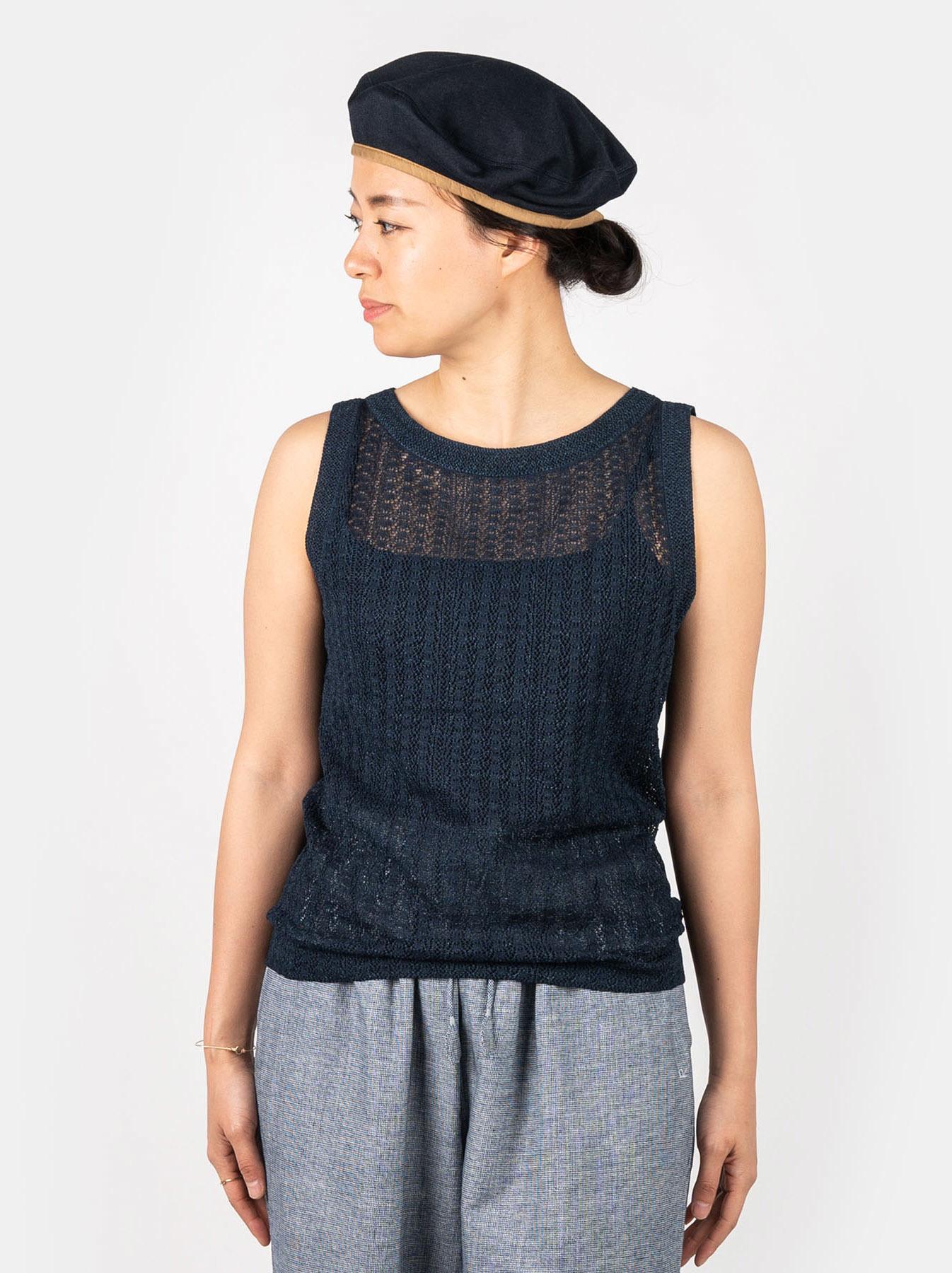 WH Indigo Gima Knit Lace Sleeveless Top-3