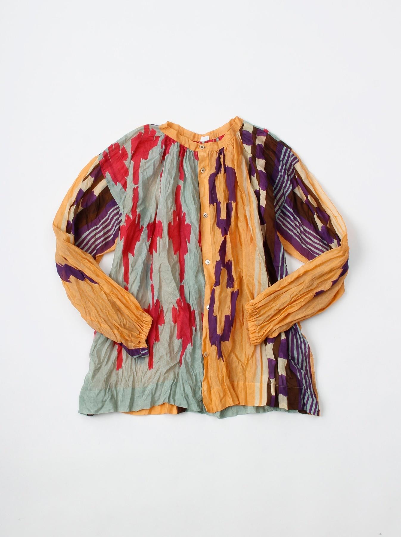 WH Feather Khadi Ikat Print Blouse-1