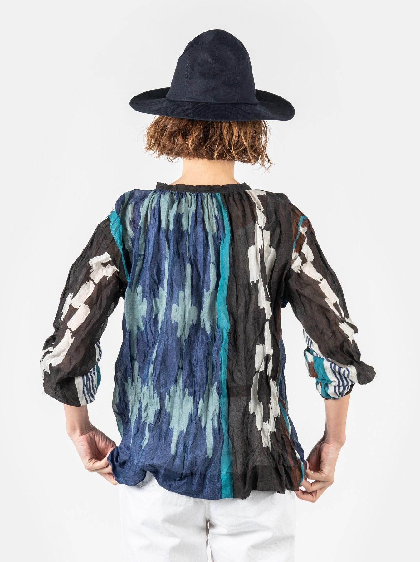 WH Feather Khadi Ikat Print Blouse-5