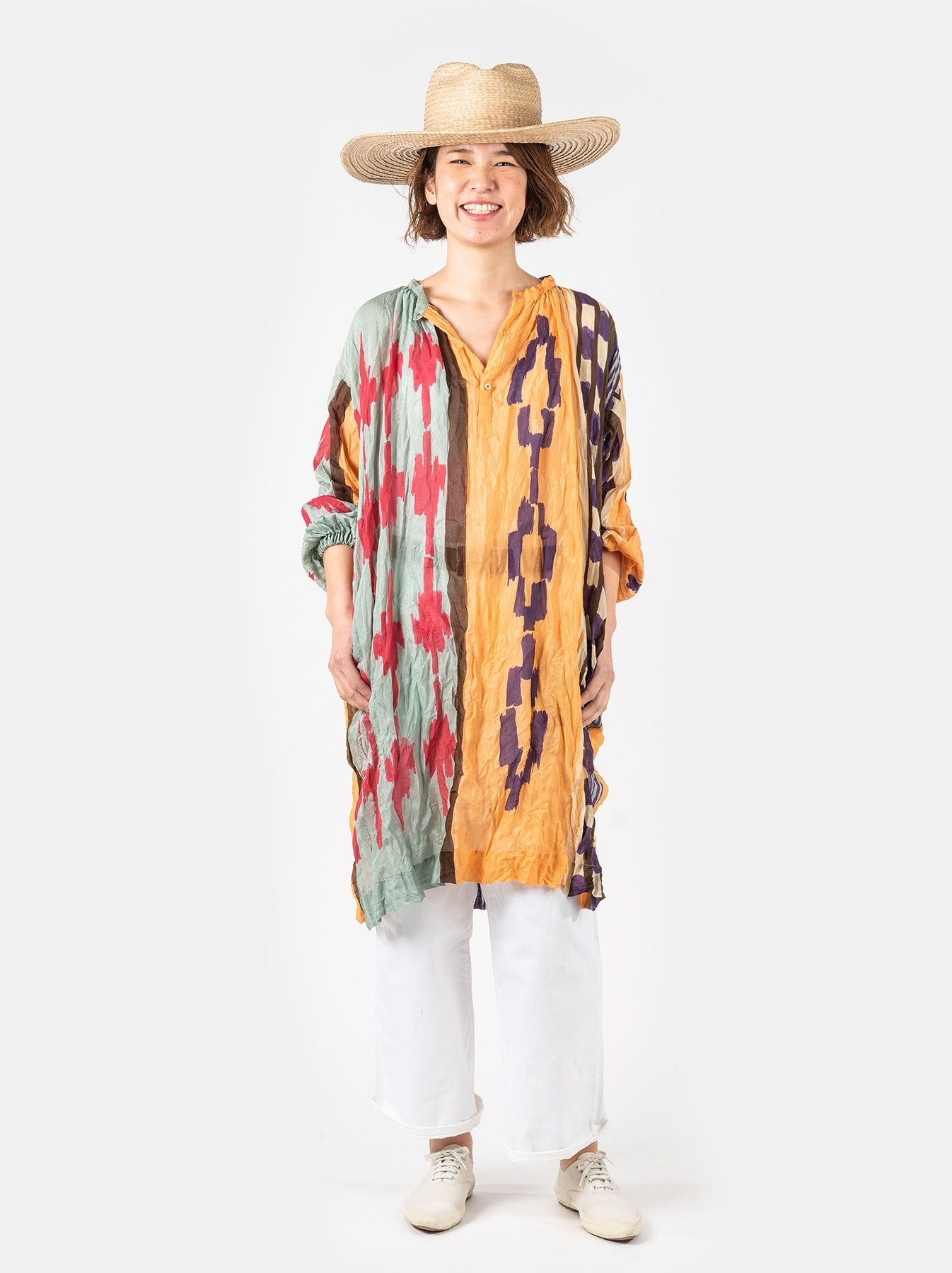 WH Feather Khadi Ikat Print Dress-2