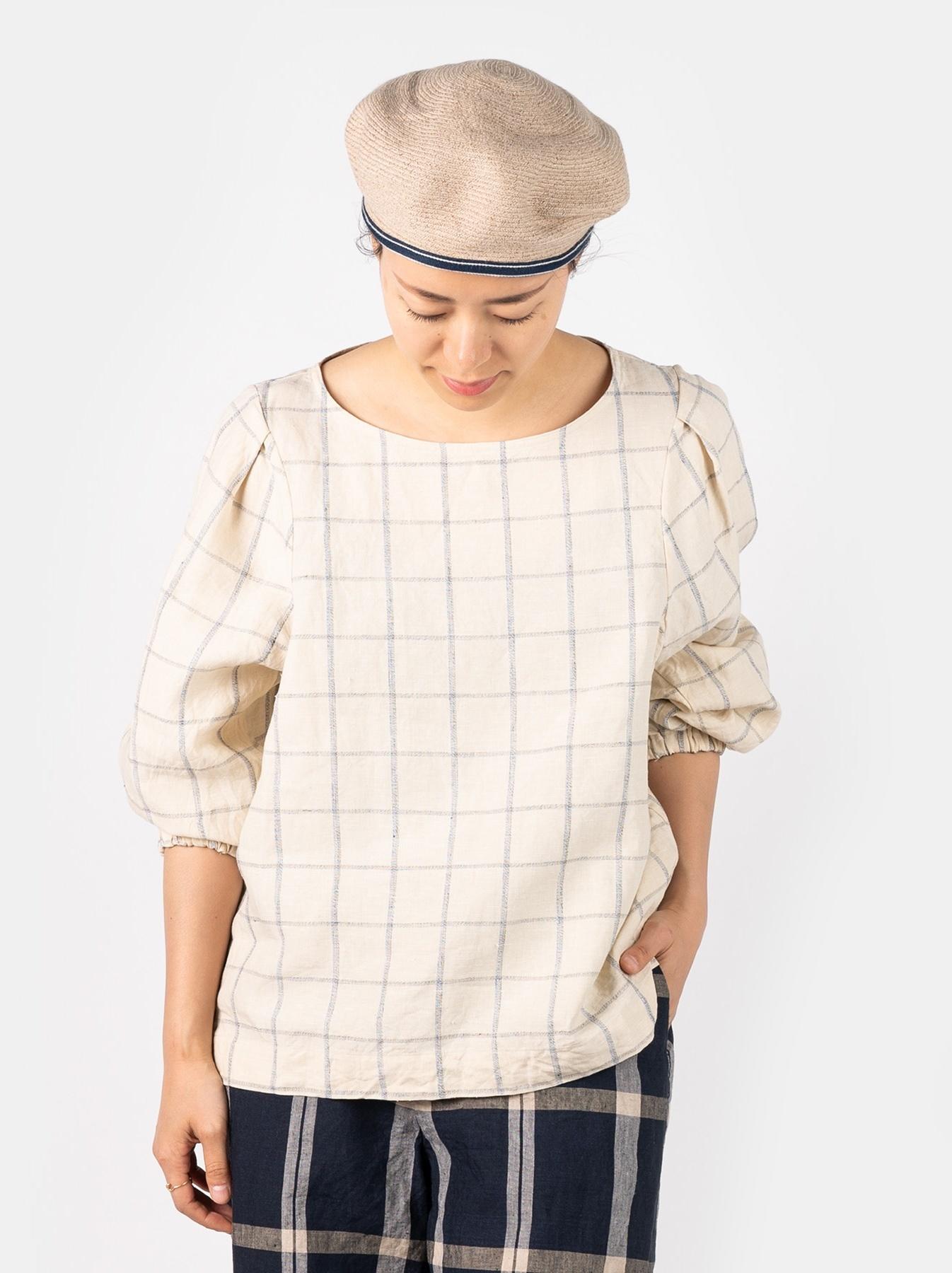 WH Linen 4545 Check Blouse-3