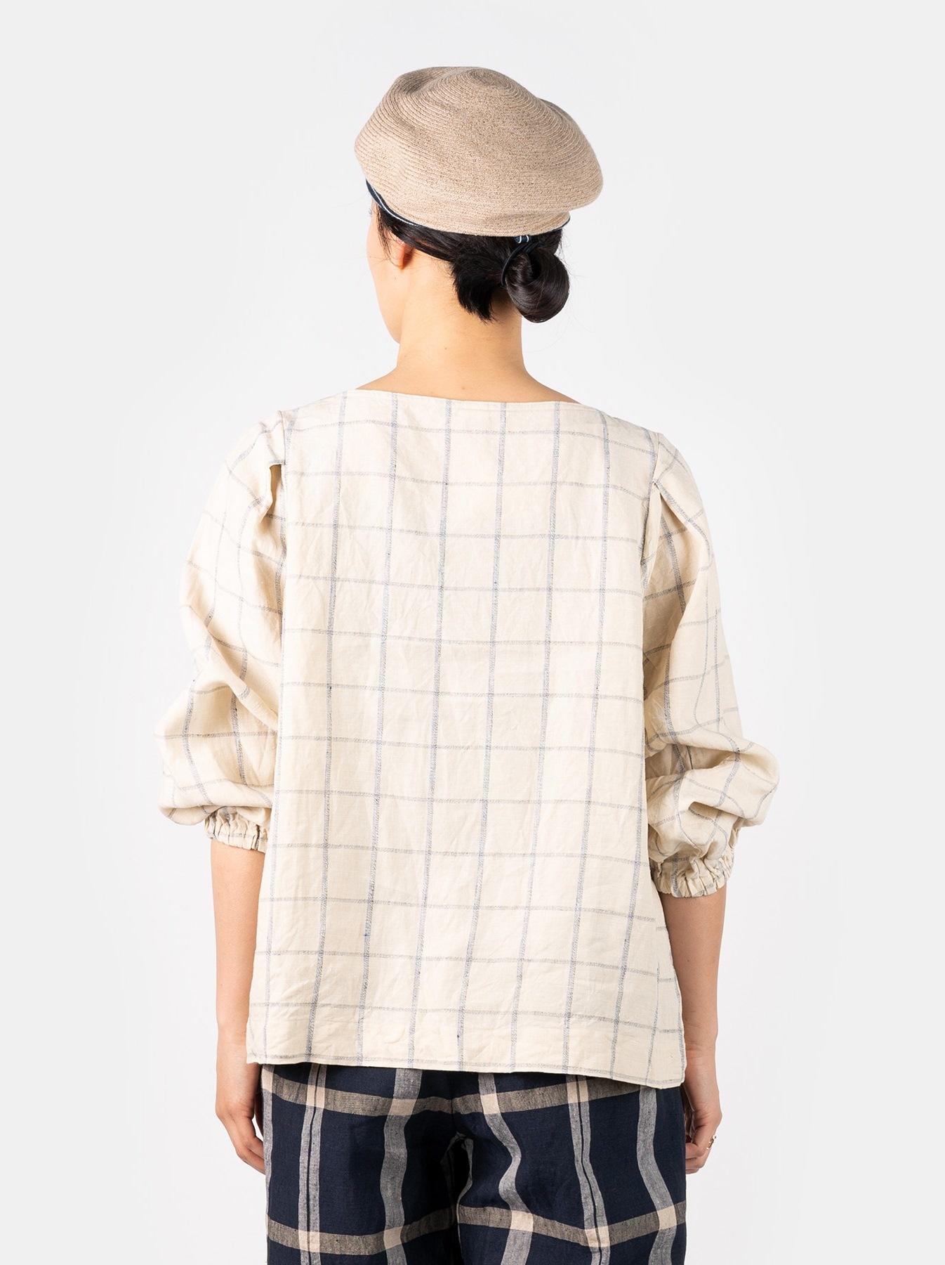 WH Linen 4545 Check Blouse-5