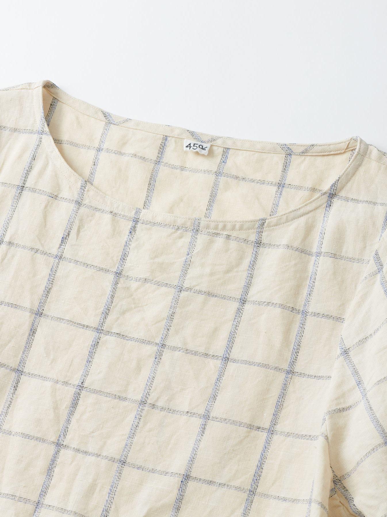 WH Linen 4545 Check Blouse-7