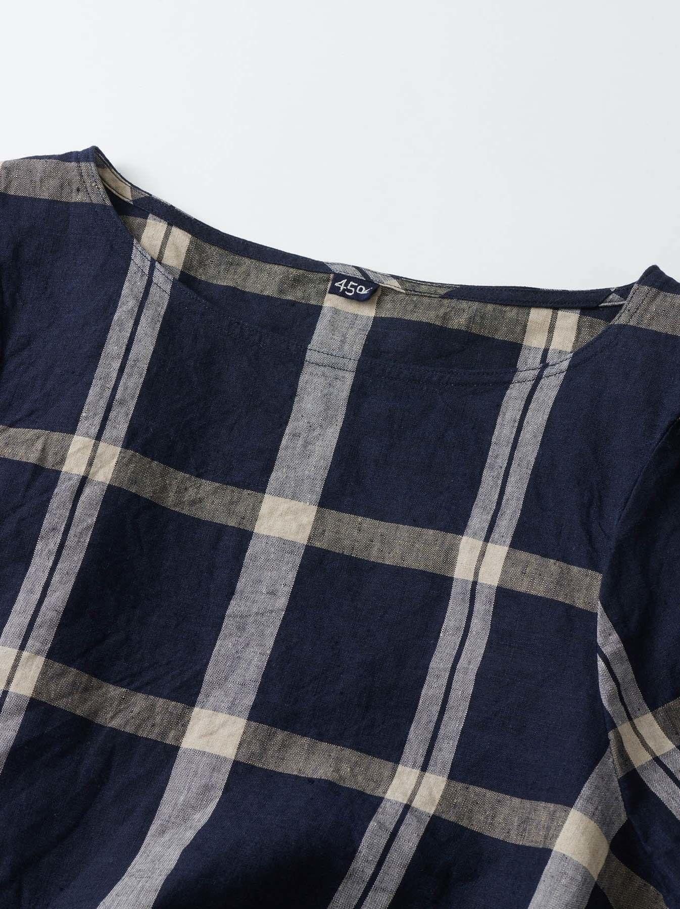 WH Linen 4545 Check Blouse-8