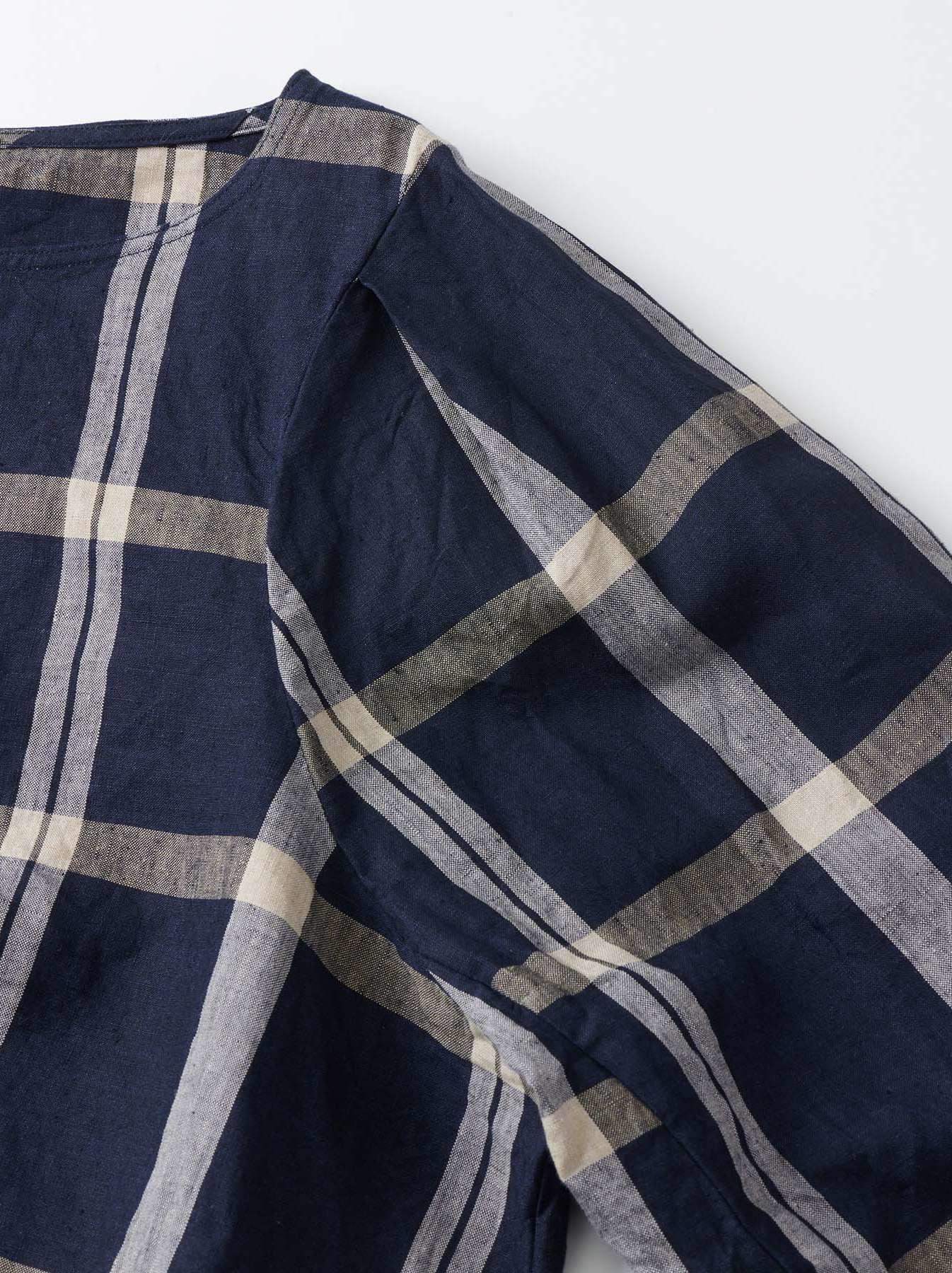 WH Linen 4545 Check Blouse-9