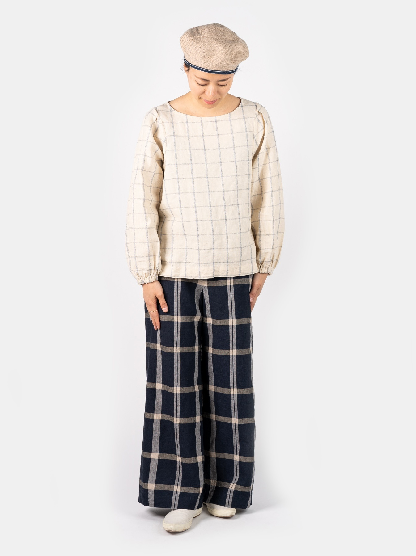 WH Linen 4545 Check Pants-2