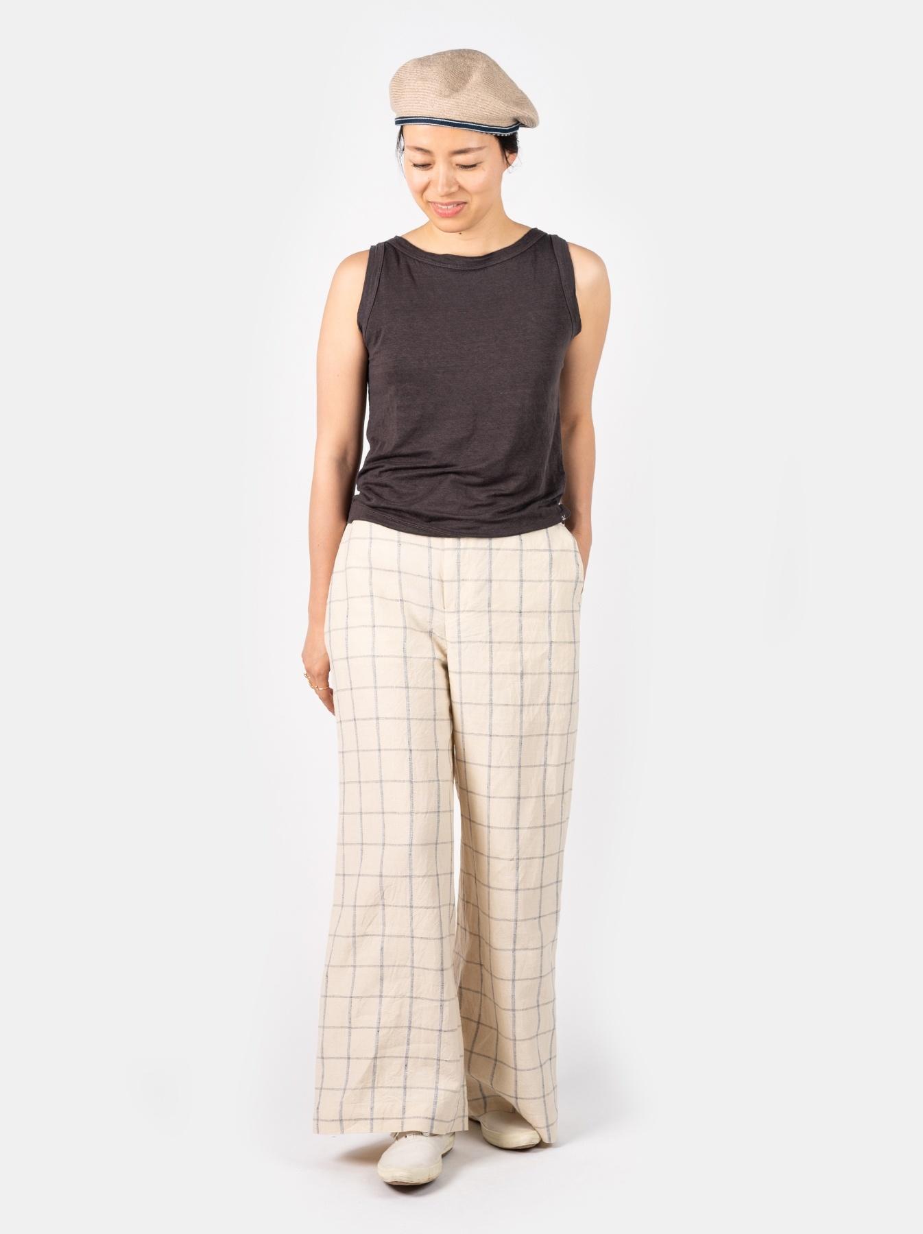 WH Linen 4545 Check Pants-7