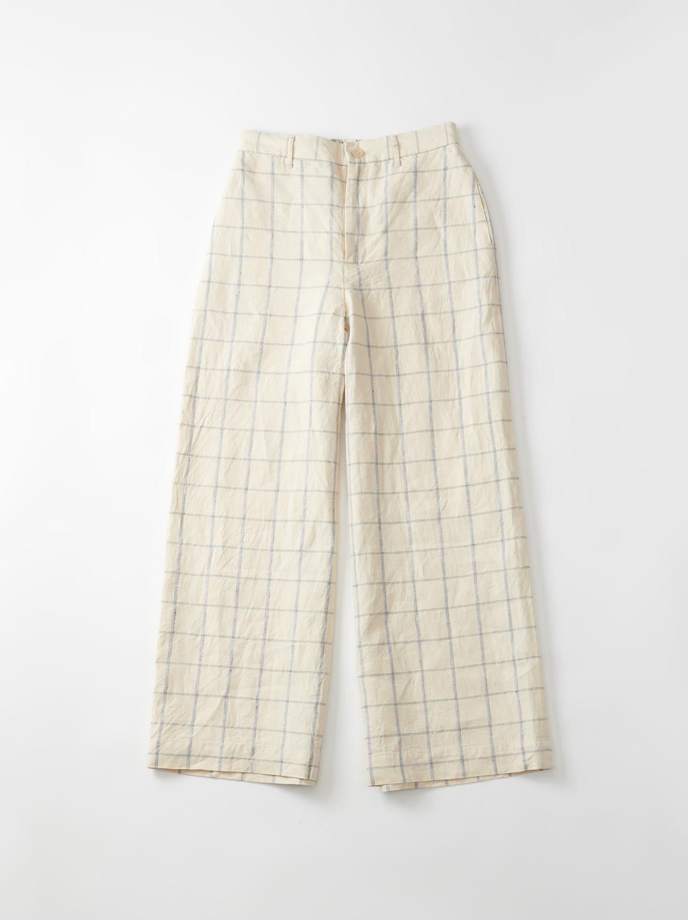 WH Linen 4545 Check Pants-1