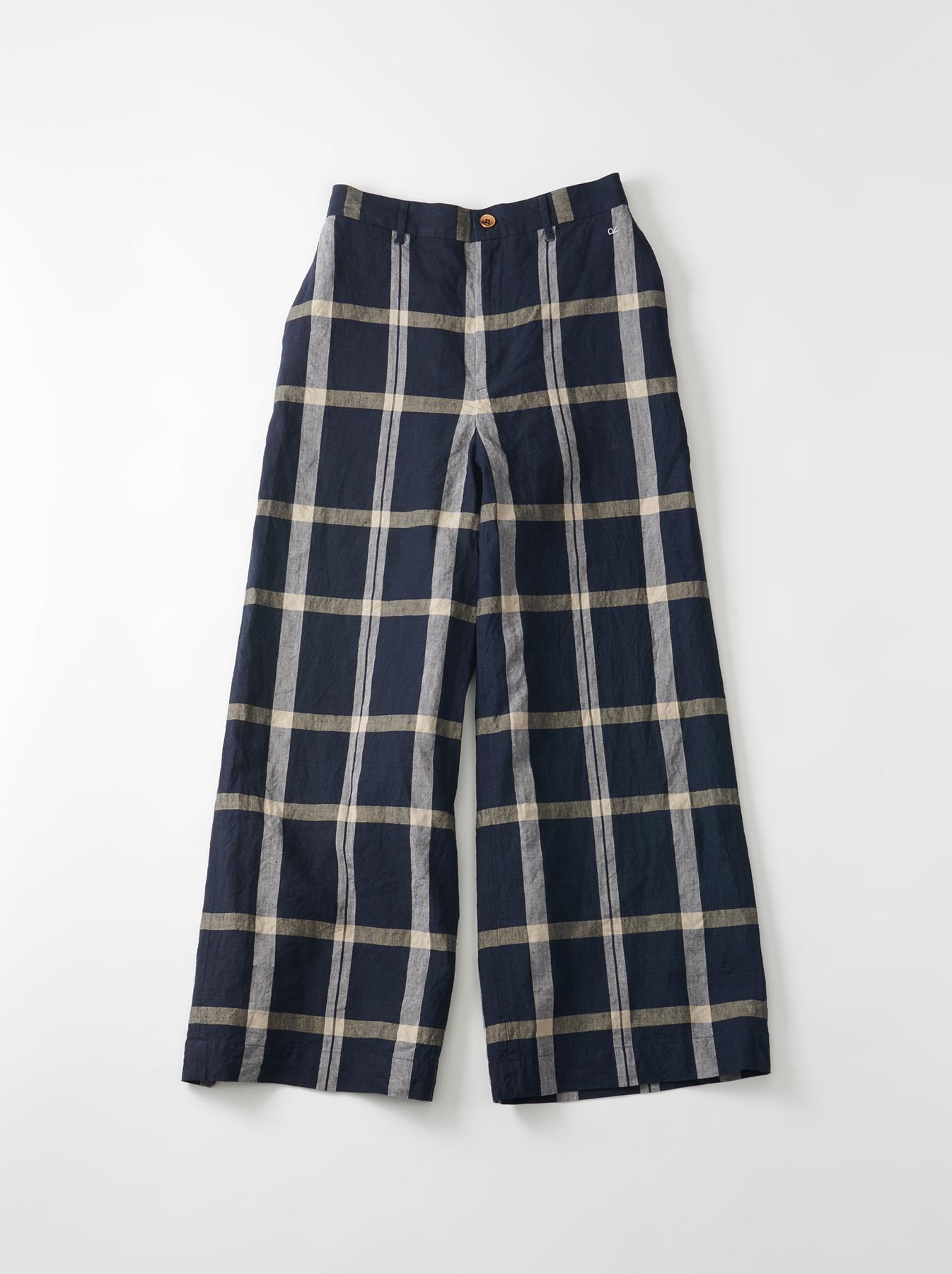 WH Linen 4545 Check Pants-6