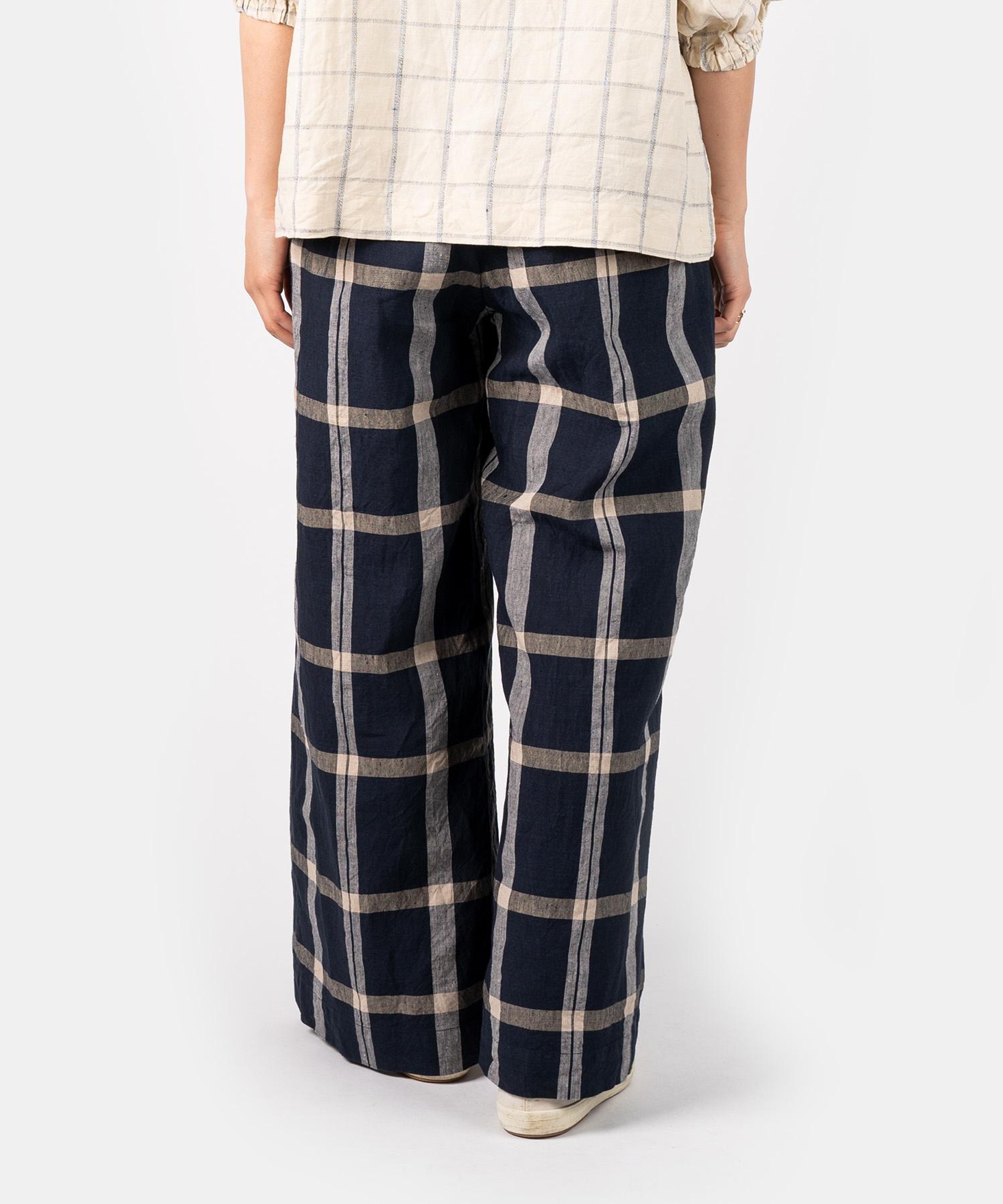 WH Linen 4545 Check Pants-5