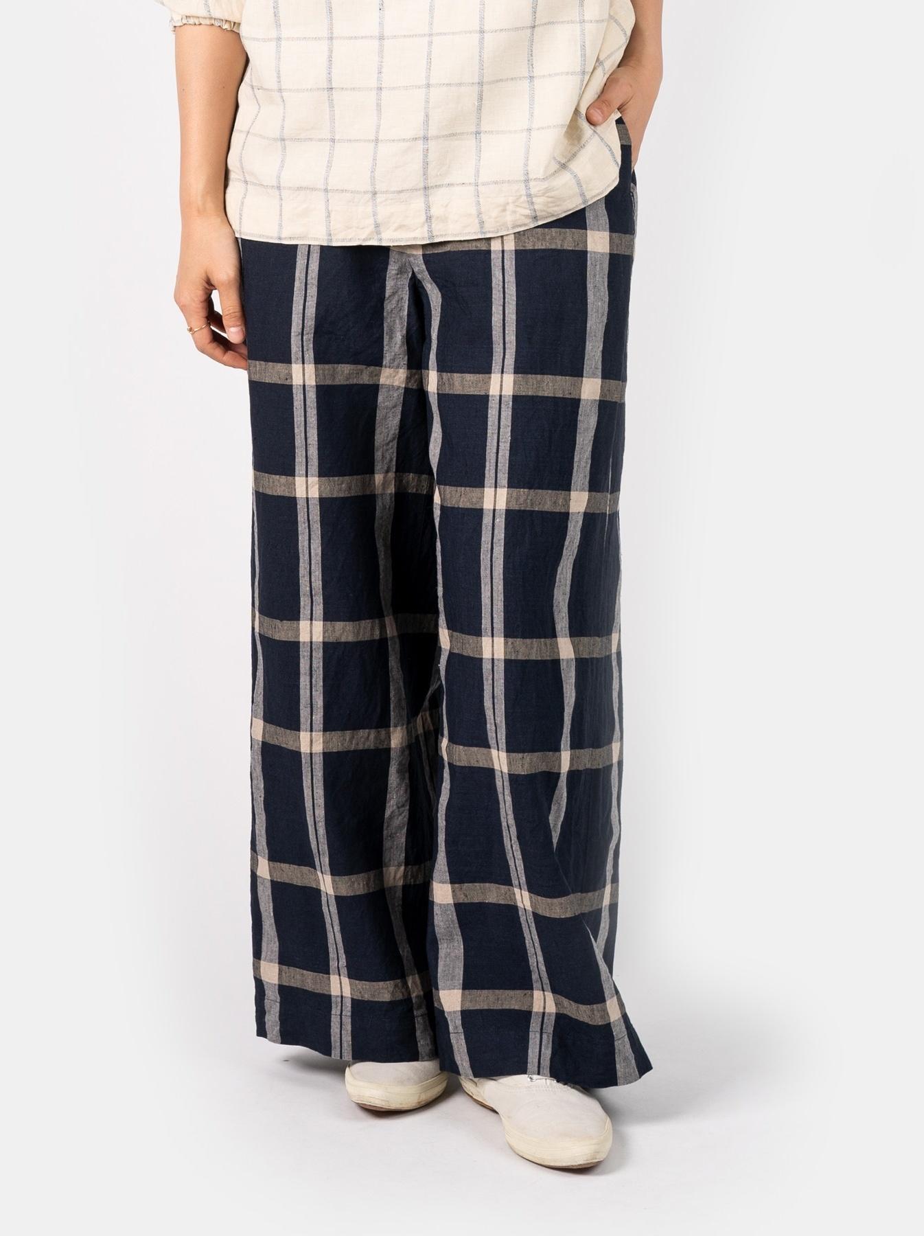 WH Linen 4545 Check Pants-3