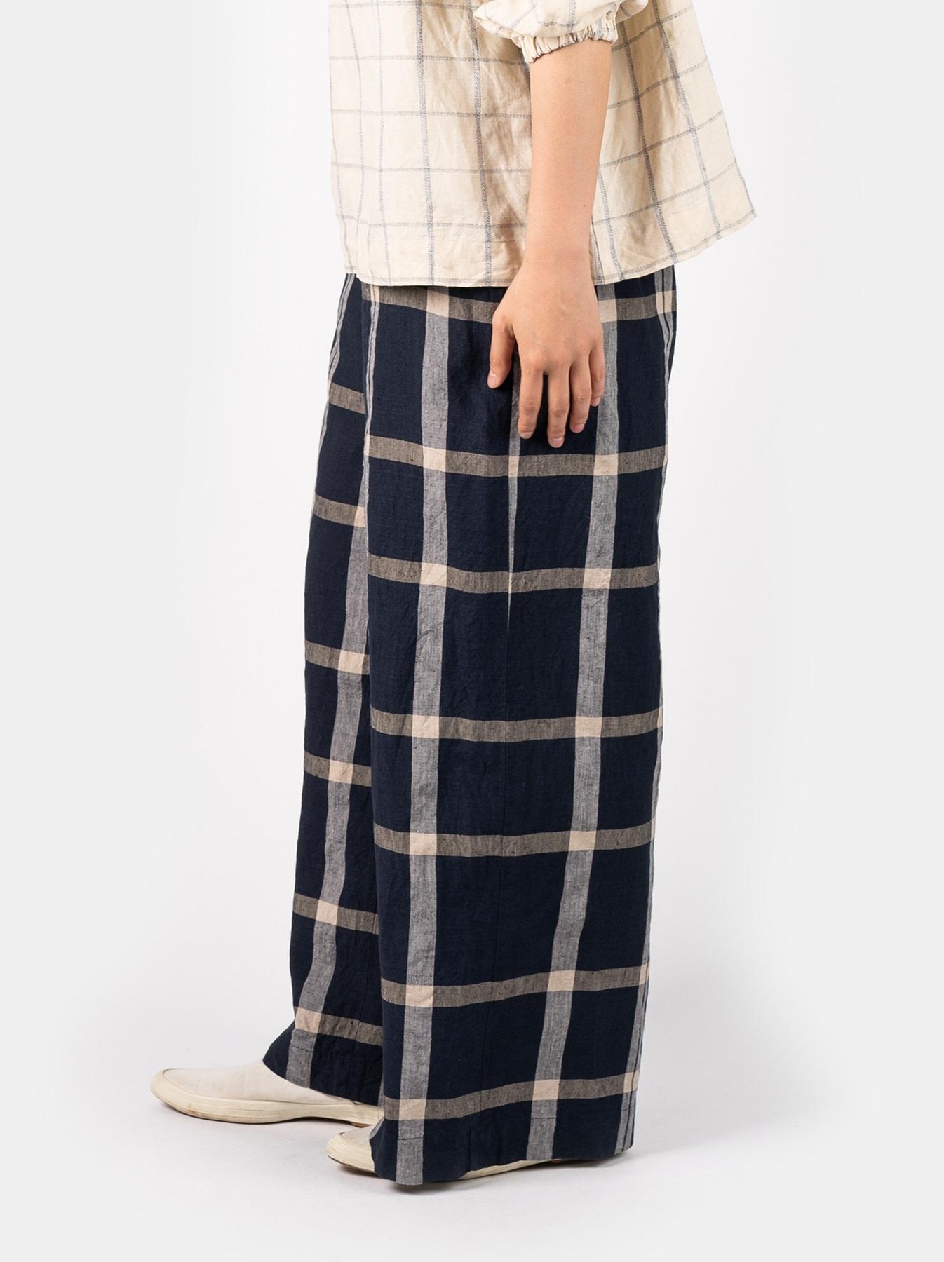 WH Linen 4545 Check Pants-4