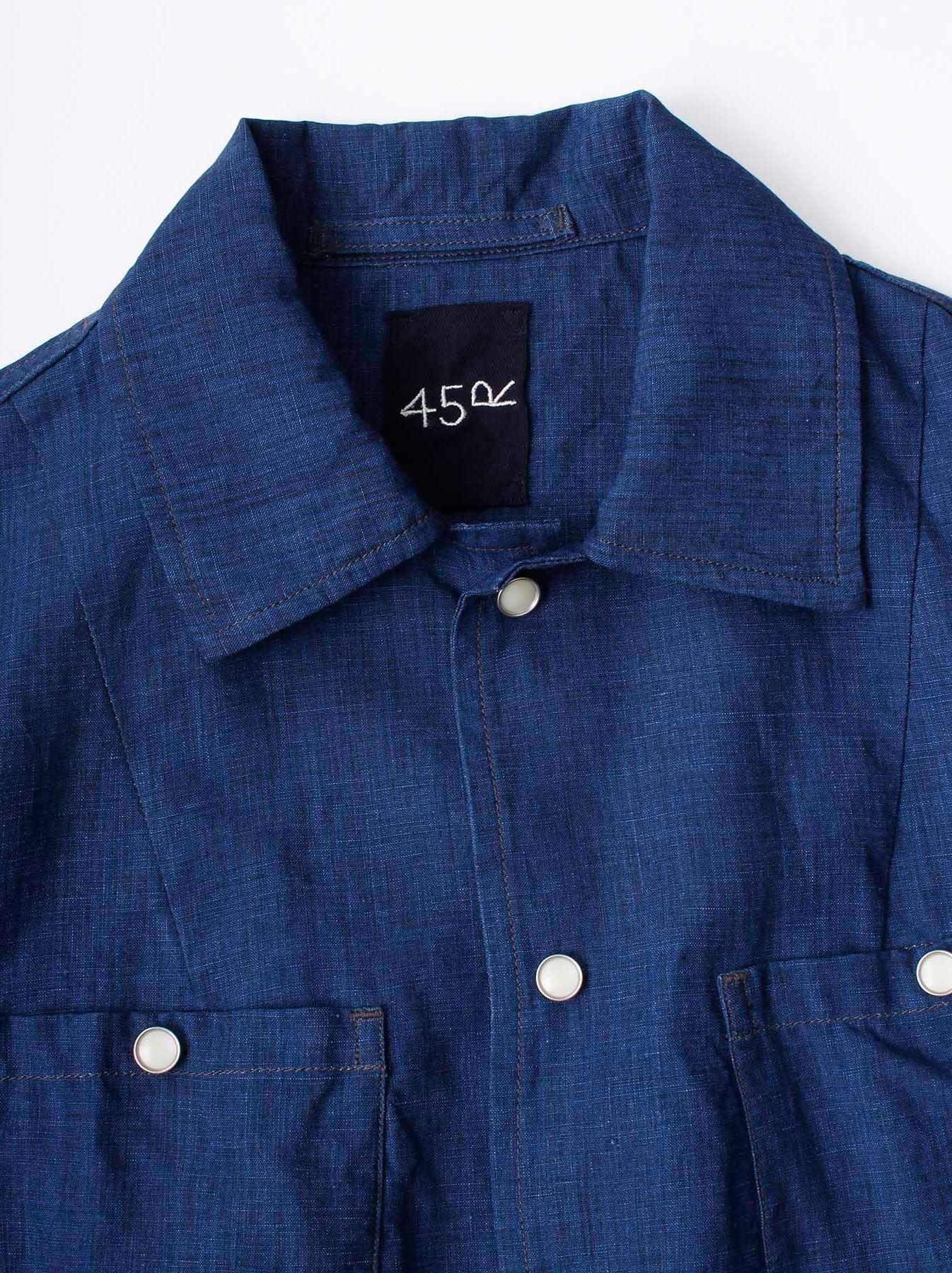 WH Indigo Linen Jean Jacket Bolero-6