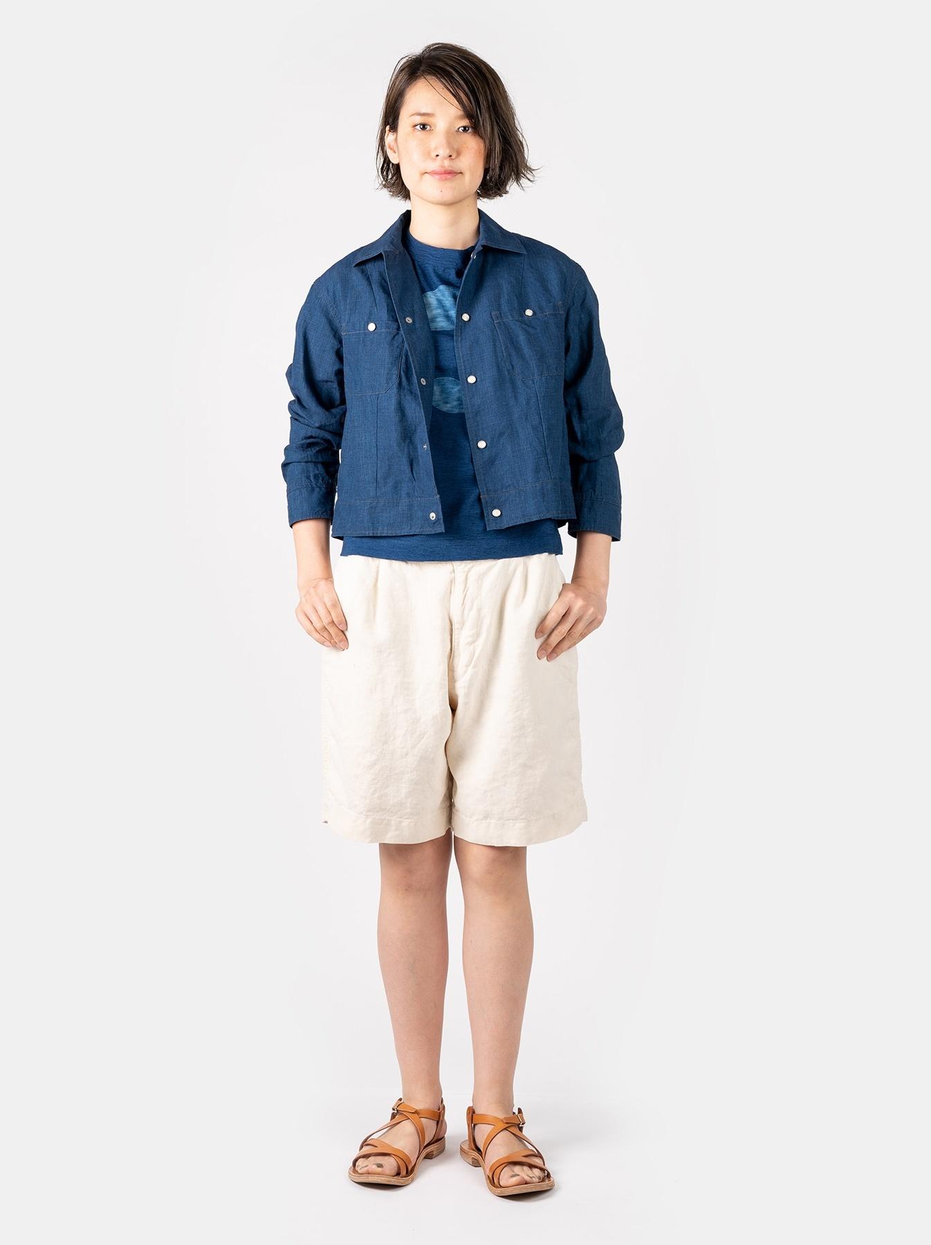WH Indigo Linen Jean Jacket Bolero-2