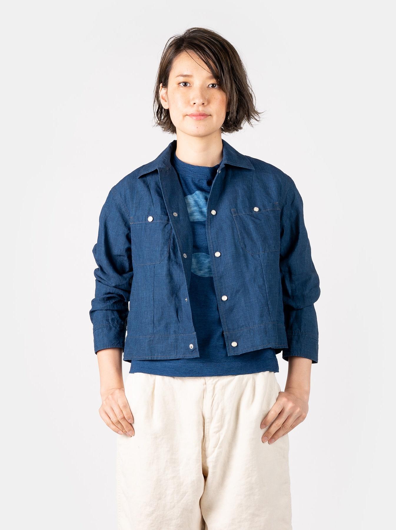 WH Indigo Linen Jean Jacket Bolero-3