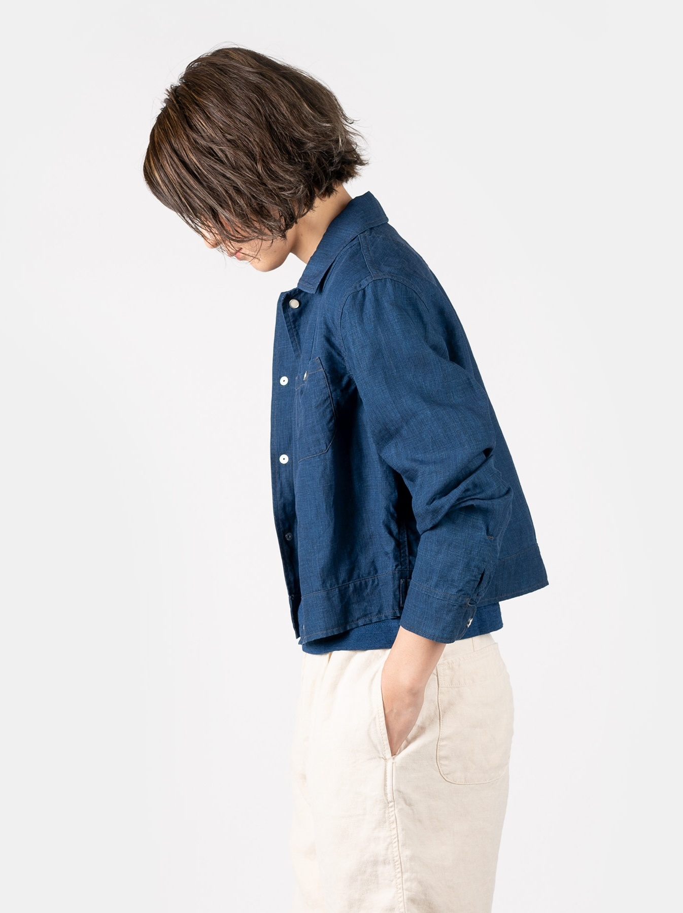 WH Indigo Linen Jean Jacket Bolero-4