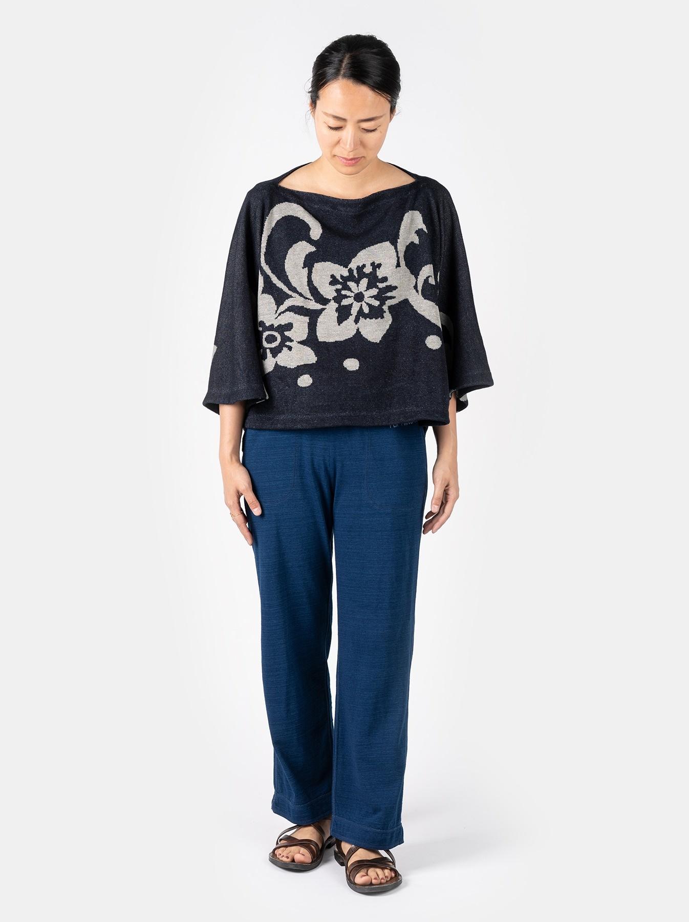 WH Indigo Linen Jacquard Yakko T-shirt-2