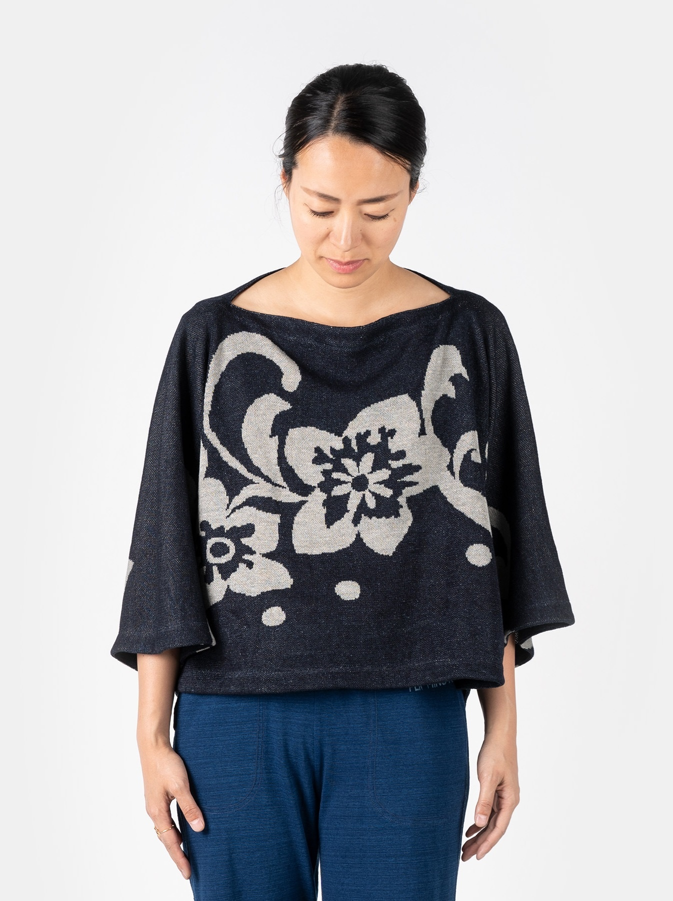 WH Indigo Linen Jacquard Yakko T-shirt-3