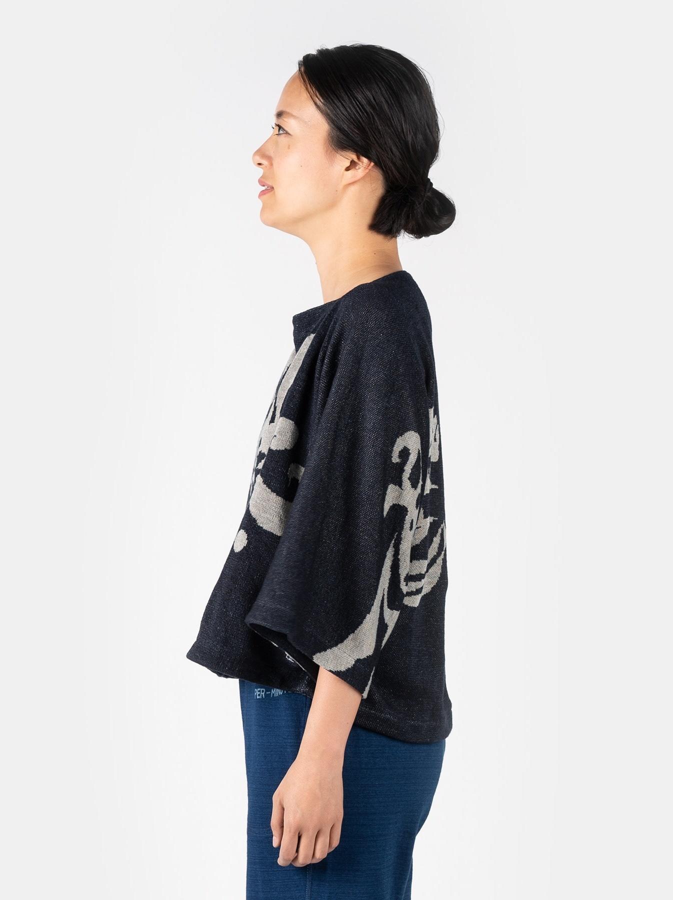 WH Indigo Linen Jacquard Yakko T-shirt-4