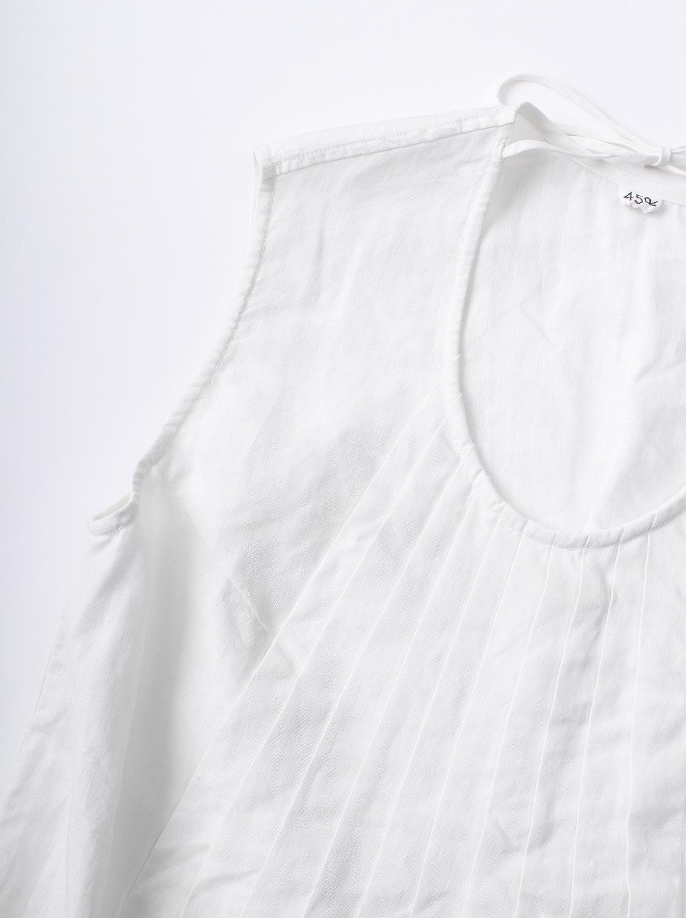 WH Linen Sleeveless Tuck Blouse-7