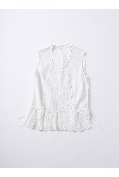 WH Linen Sleeveless Tuck Blouse