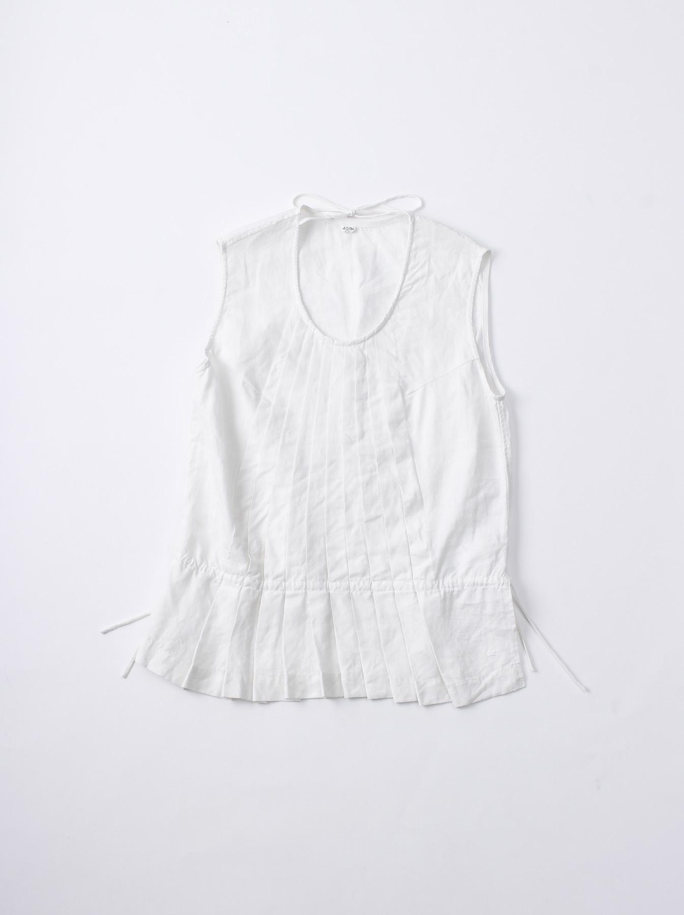 WH Linen Sleeveless Tuck Blouse-1