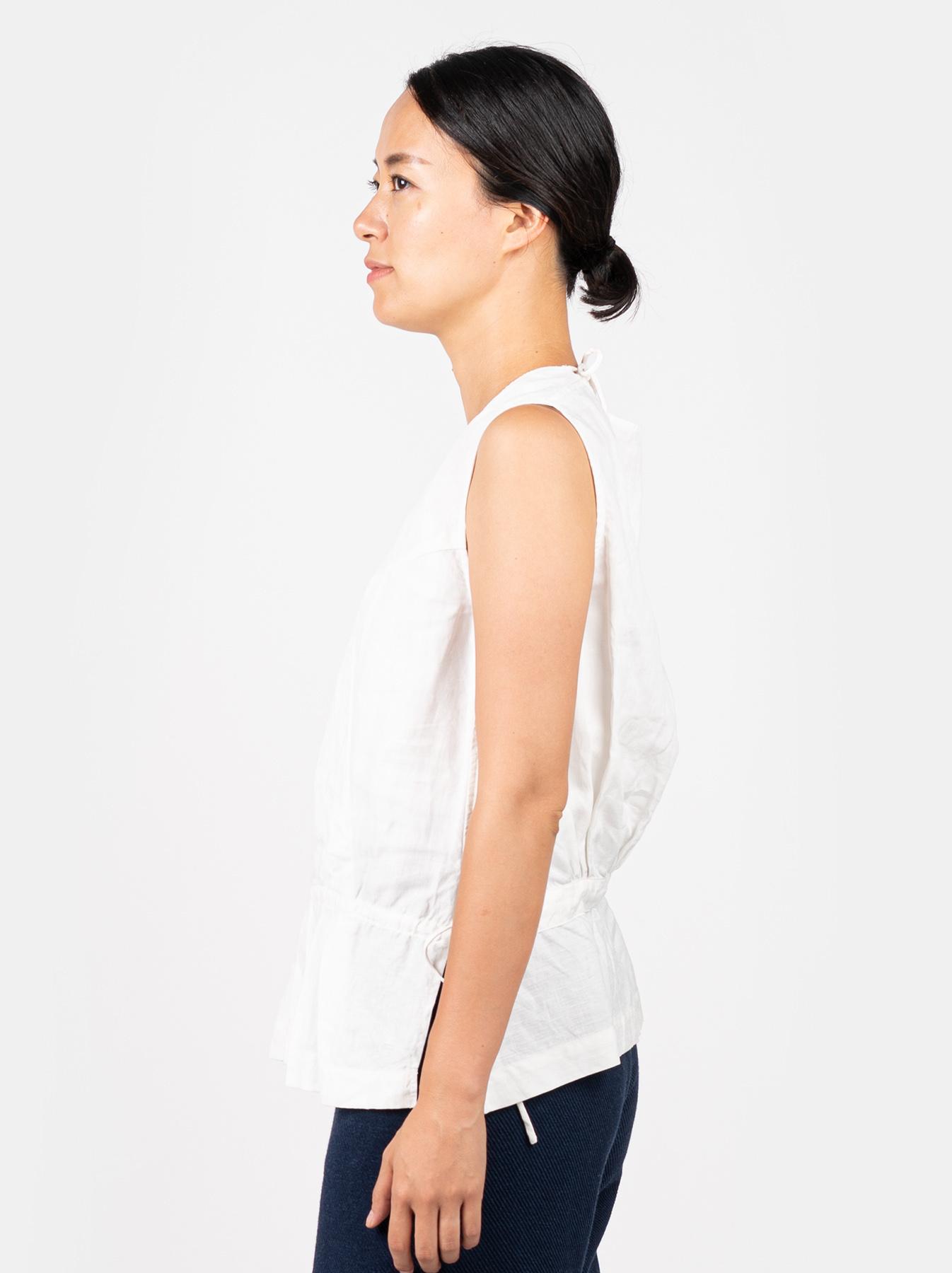 WH Linen Sleeveless Tuck Blouse-4