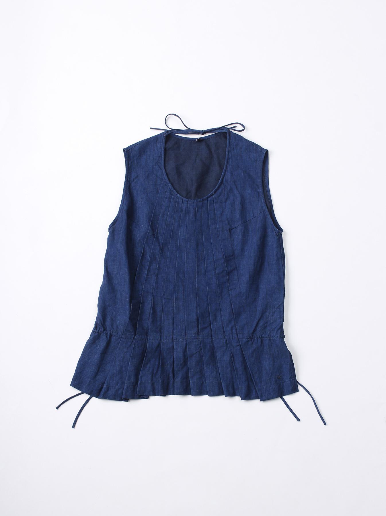 WH Indigo Linen Sleeveless Tuck Blouse-1