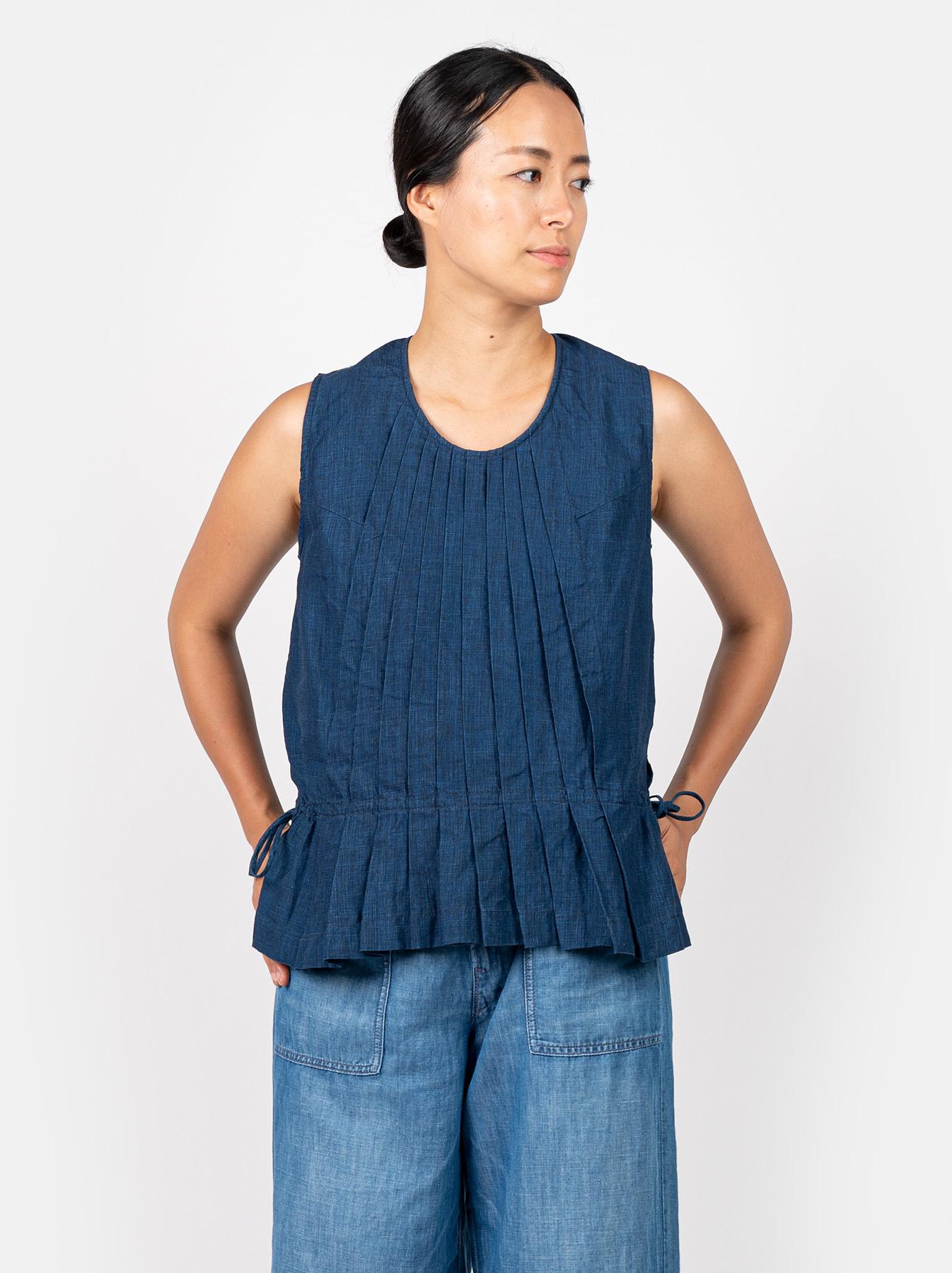 WH Indigo Linen Sleeveless Tuck Blouse-2
